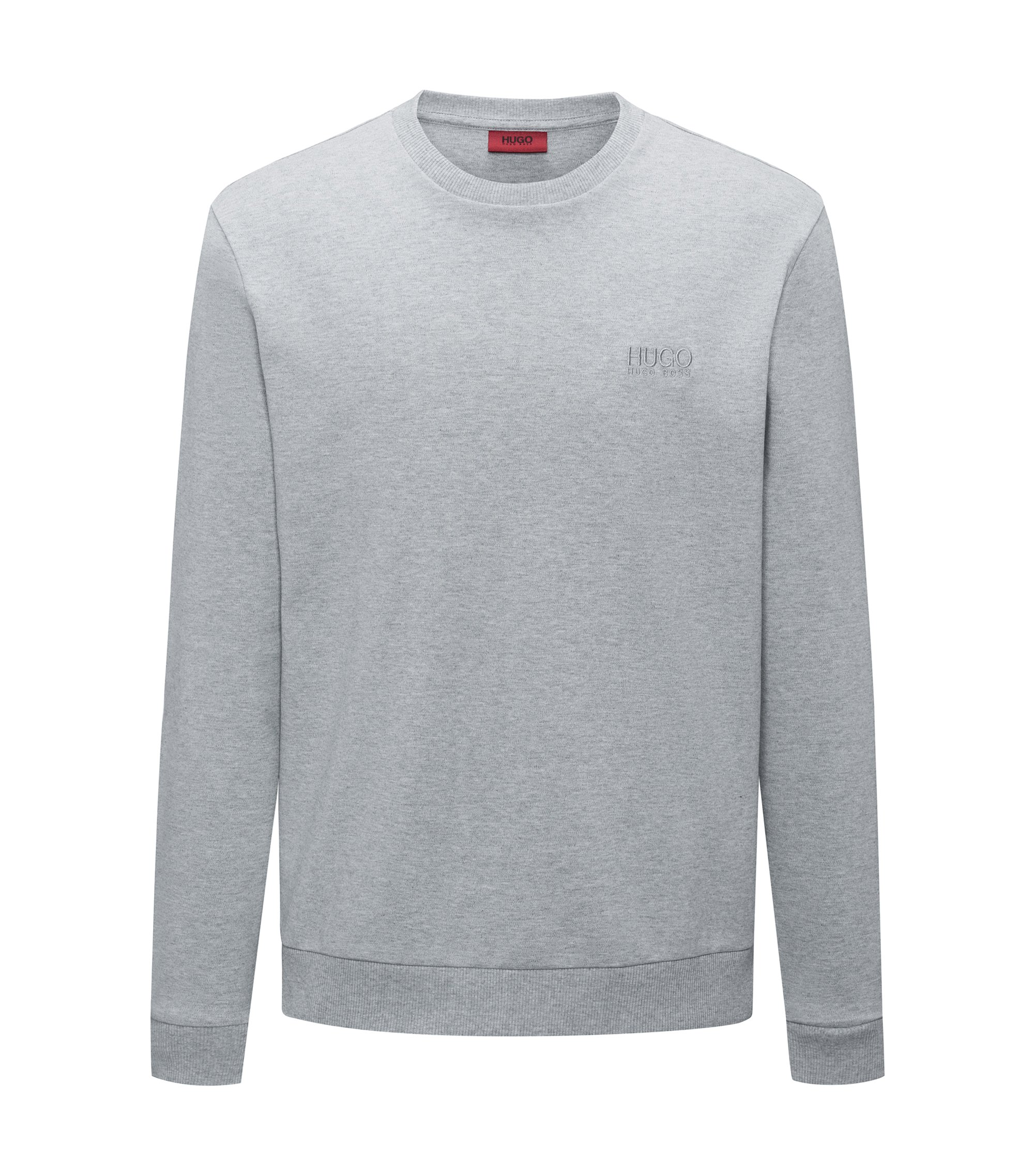 Sweat logo en coton interlock, Gris