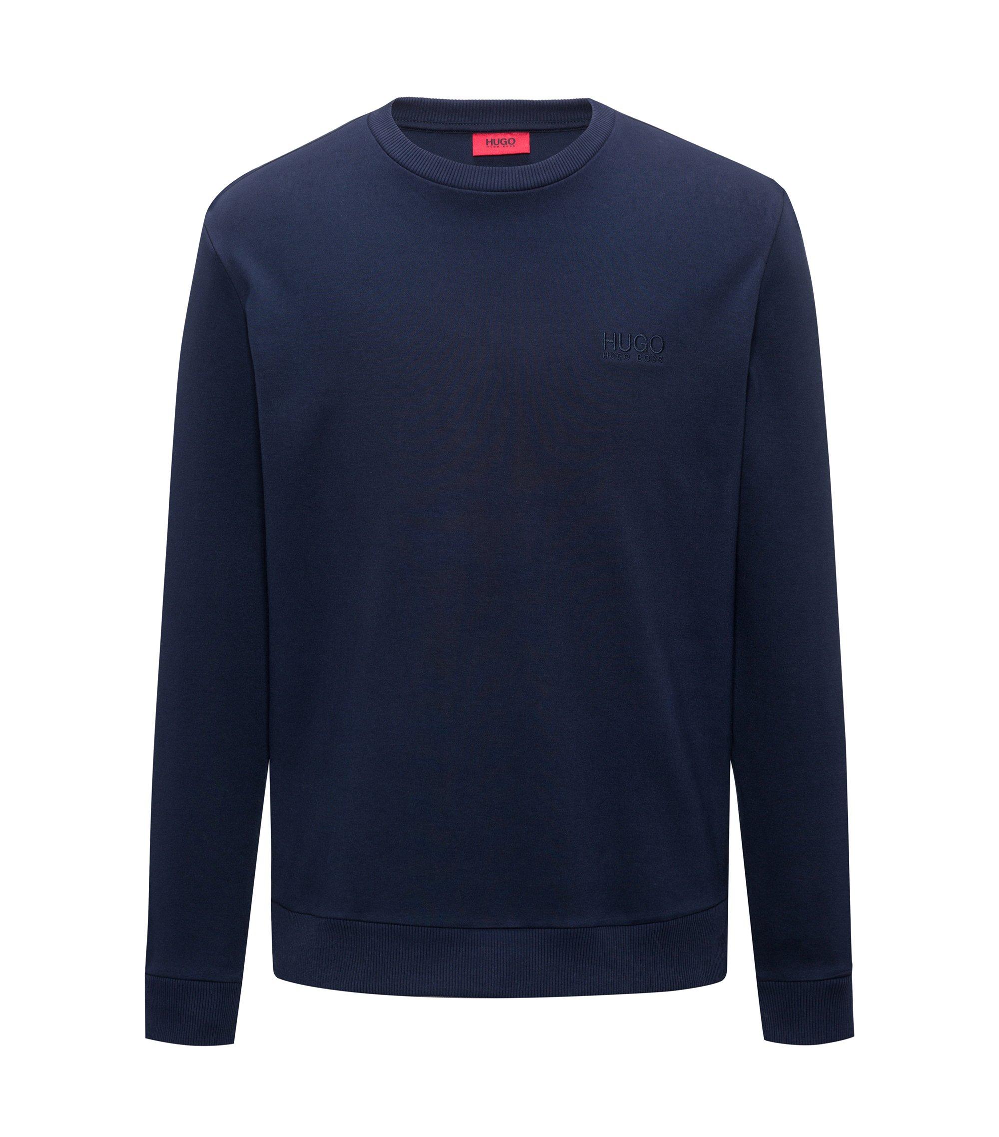 Logo sweater in interlock cotton, Dark Blue