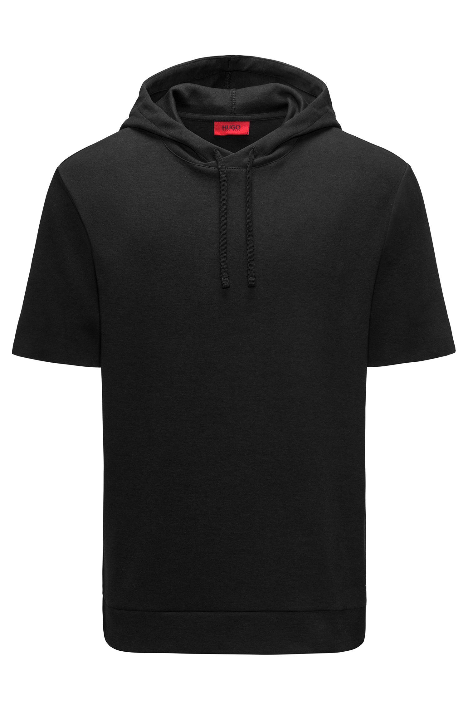 Short-sleeved hooded sweatshirt in an interlock cotton blend
