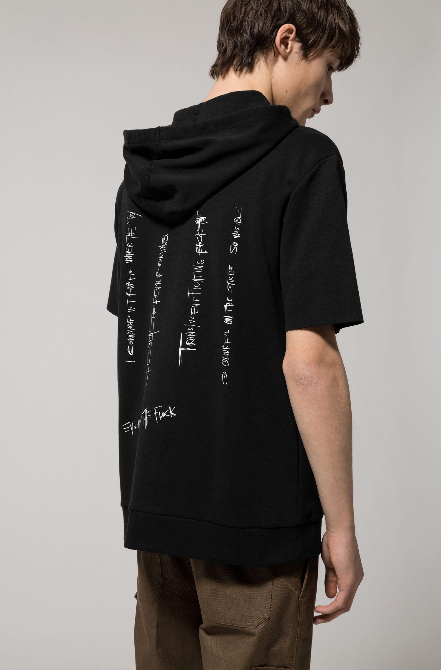 Sweater van een interlocked katoenmix met capuchon en korte mouwen