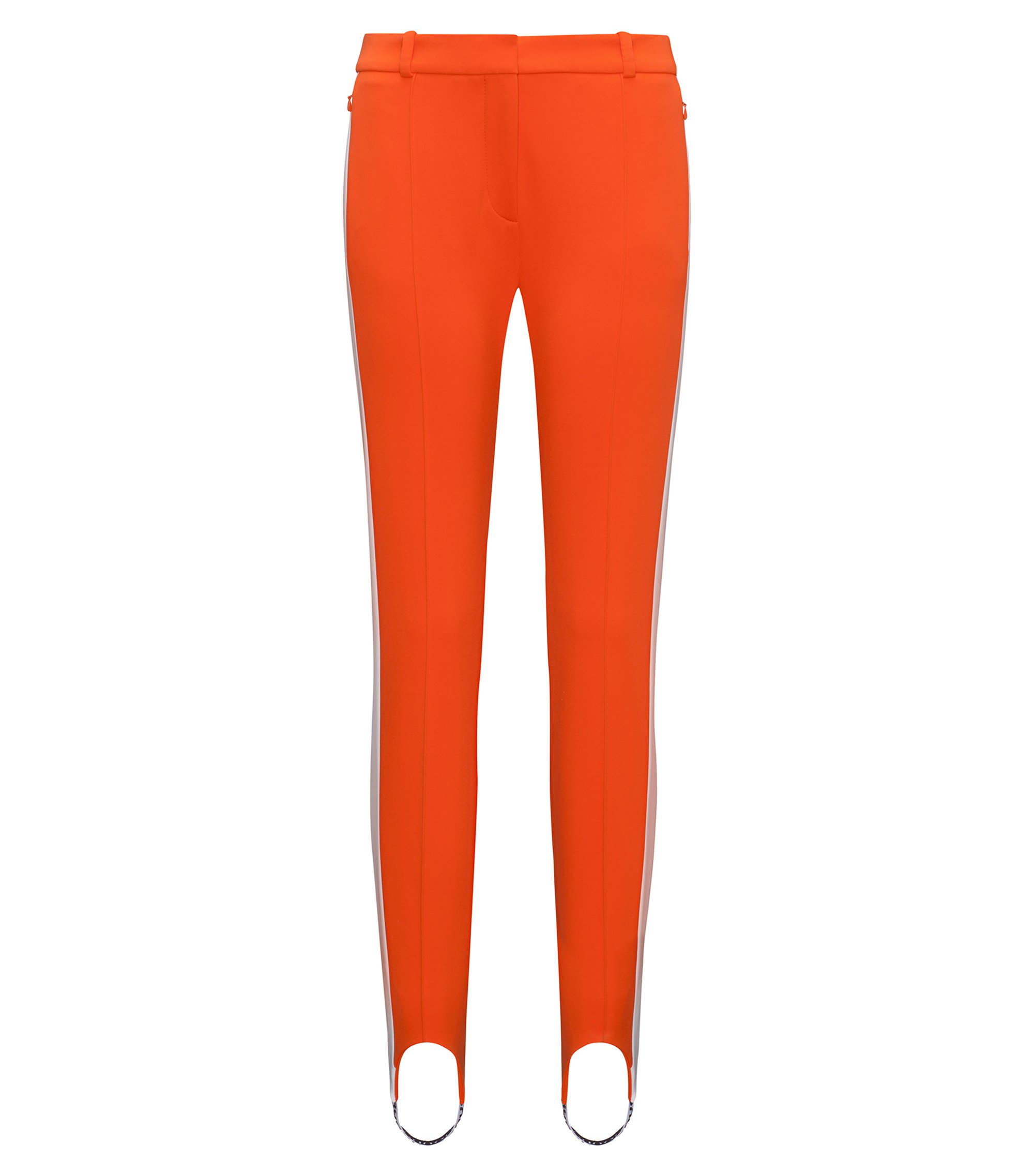 Slim-fit stretch jersey stirrup trousers with side stripe, Orange