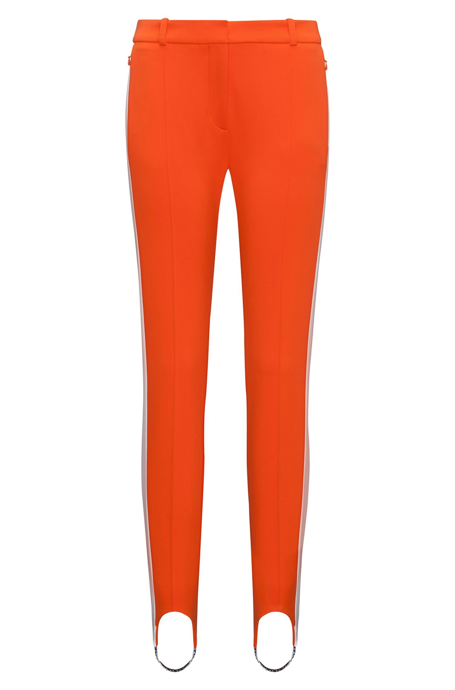 Slim-fit stretch jersey stirrup trousers with side stripe