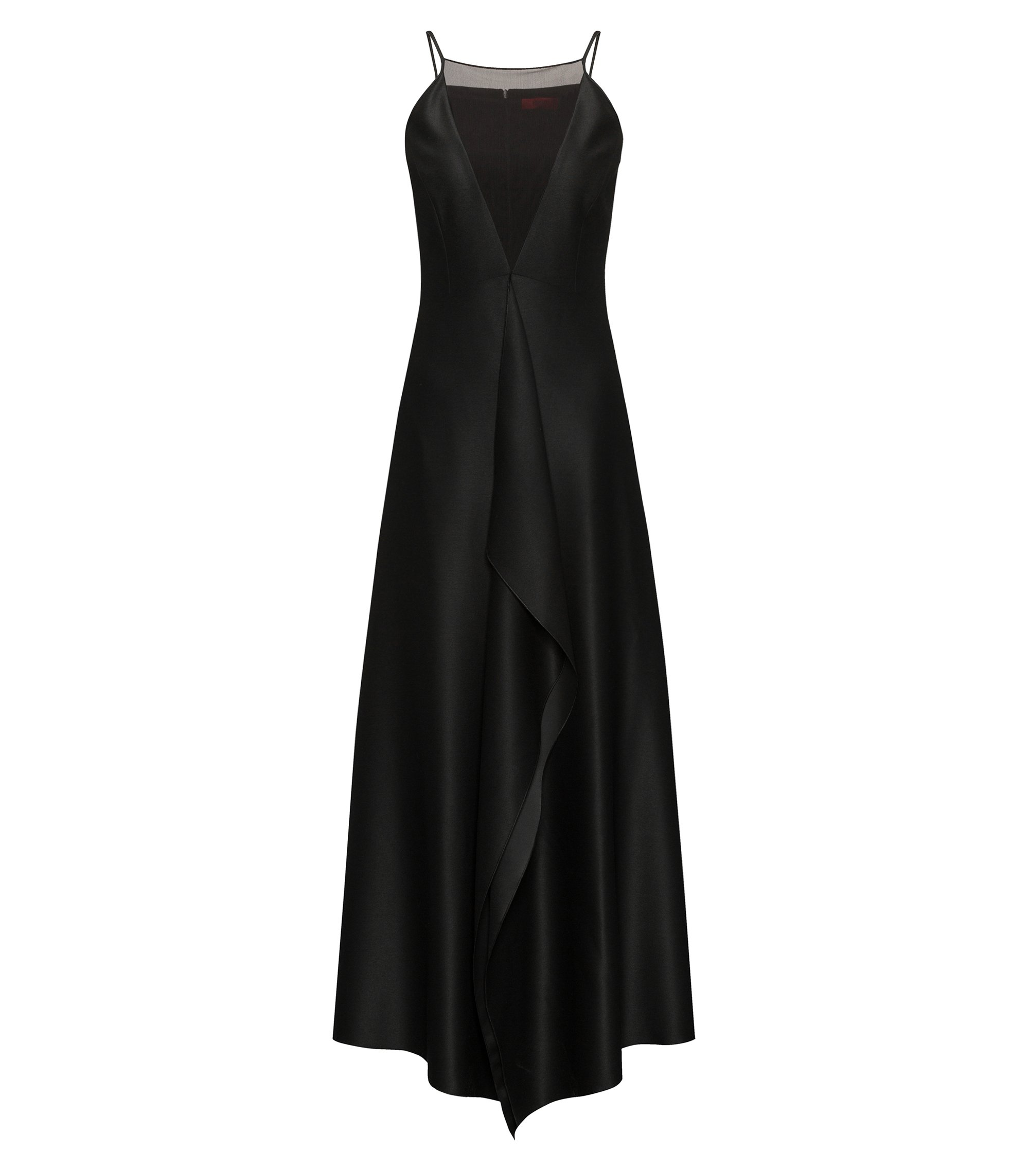 Cascade-front evening dress with mesh V neckline, Black