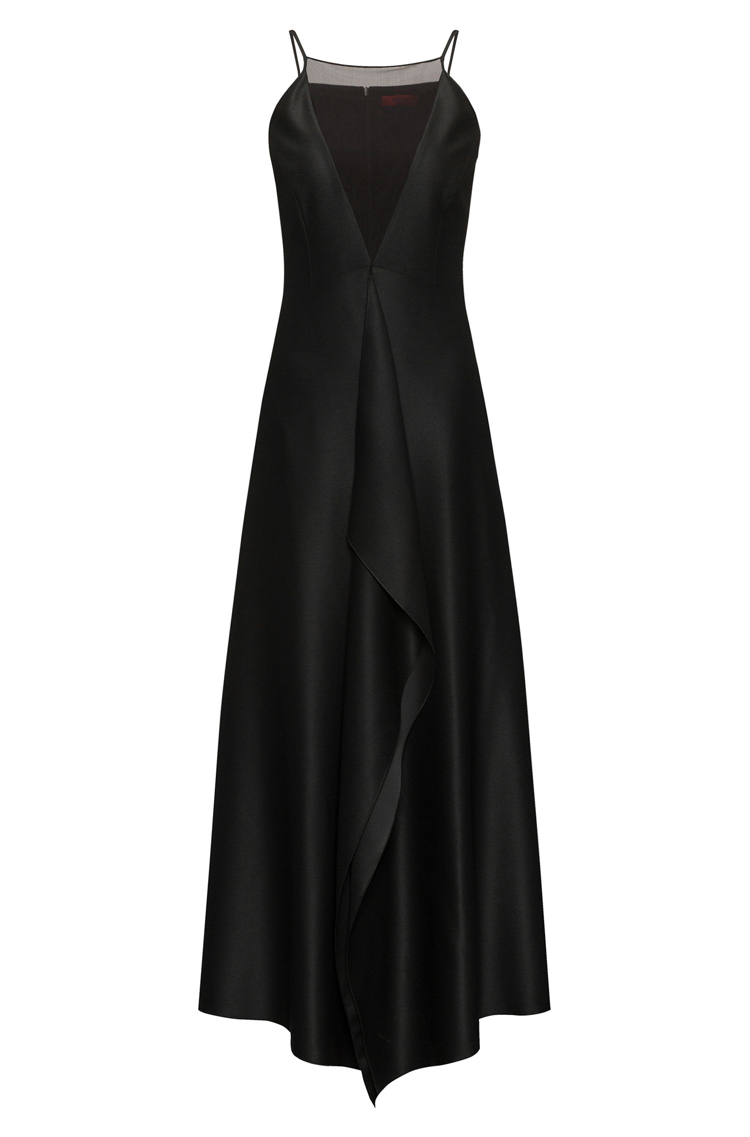 Cascade-front evening dress with mesh V neckline