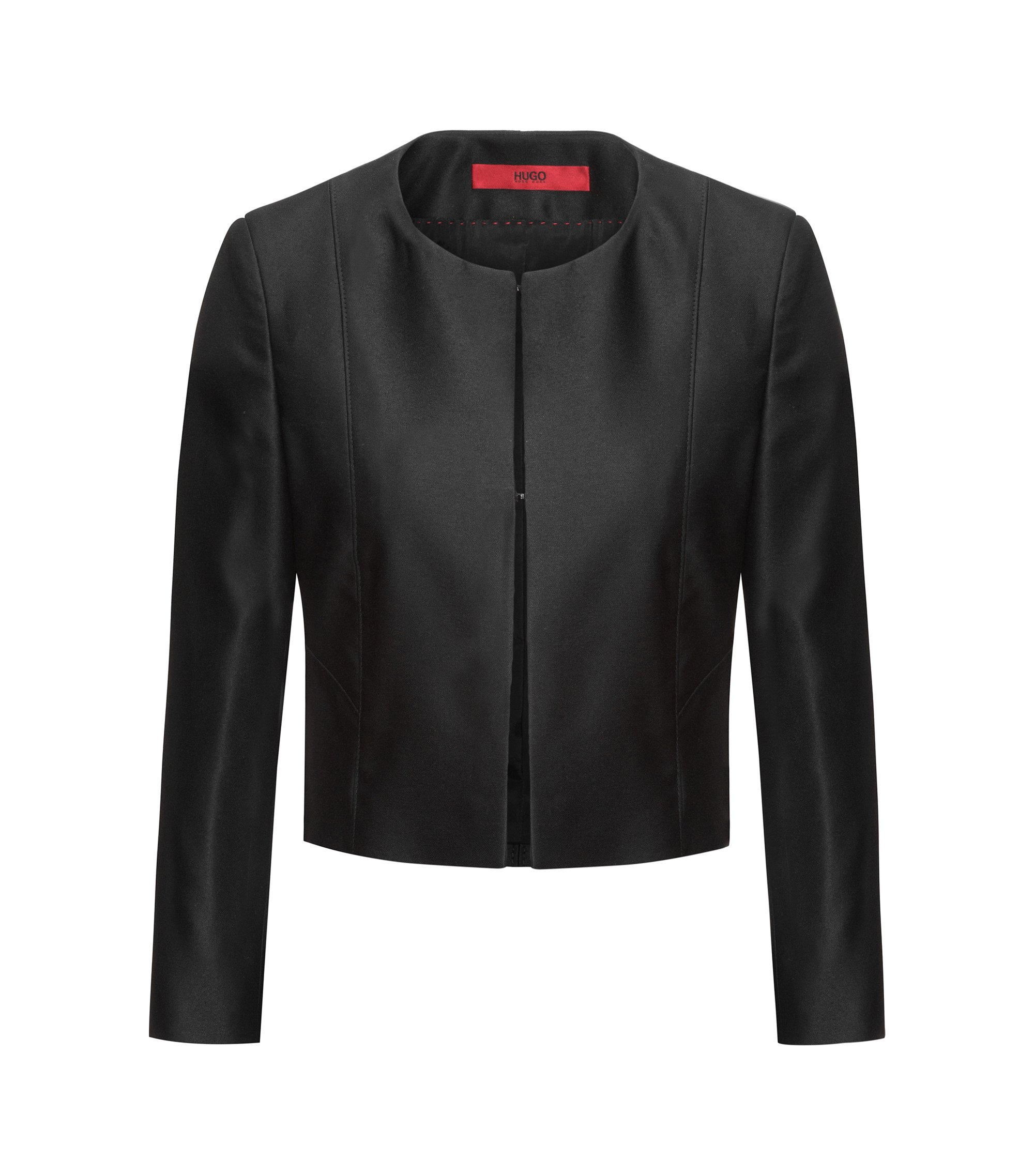 Sleek regular-fit cropped jacket with hook-and-eye closure, Black