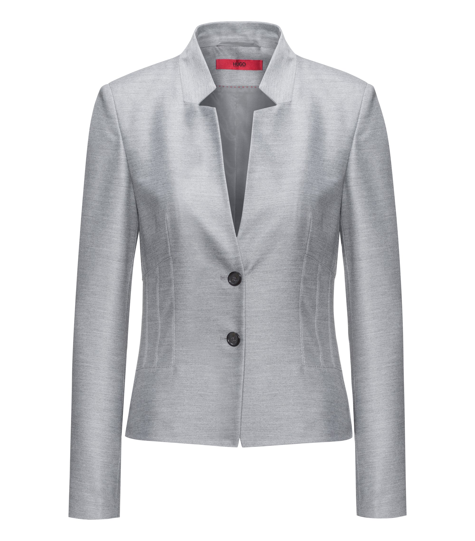 Regular-fit jacket with modern collar and corset detail, Grey