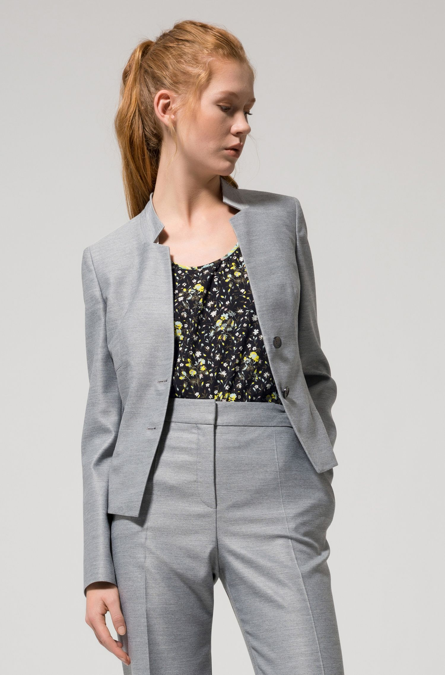 Regular-fit jacket with modern collar and corset detail
