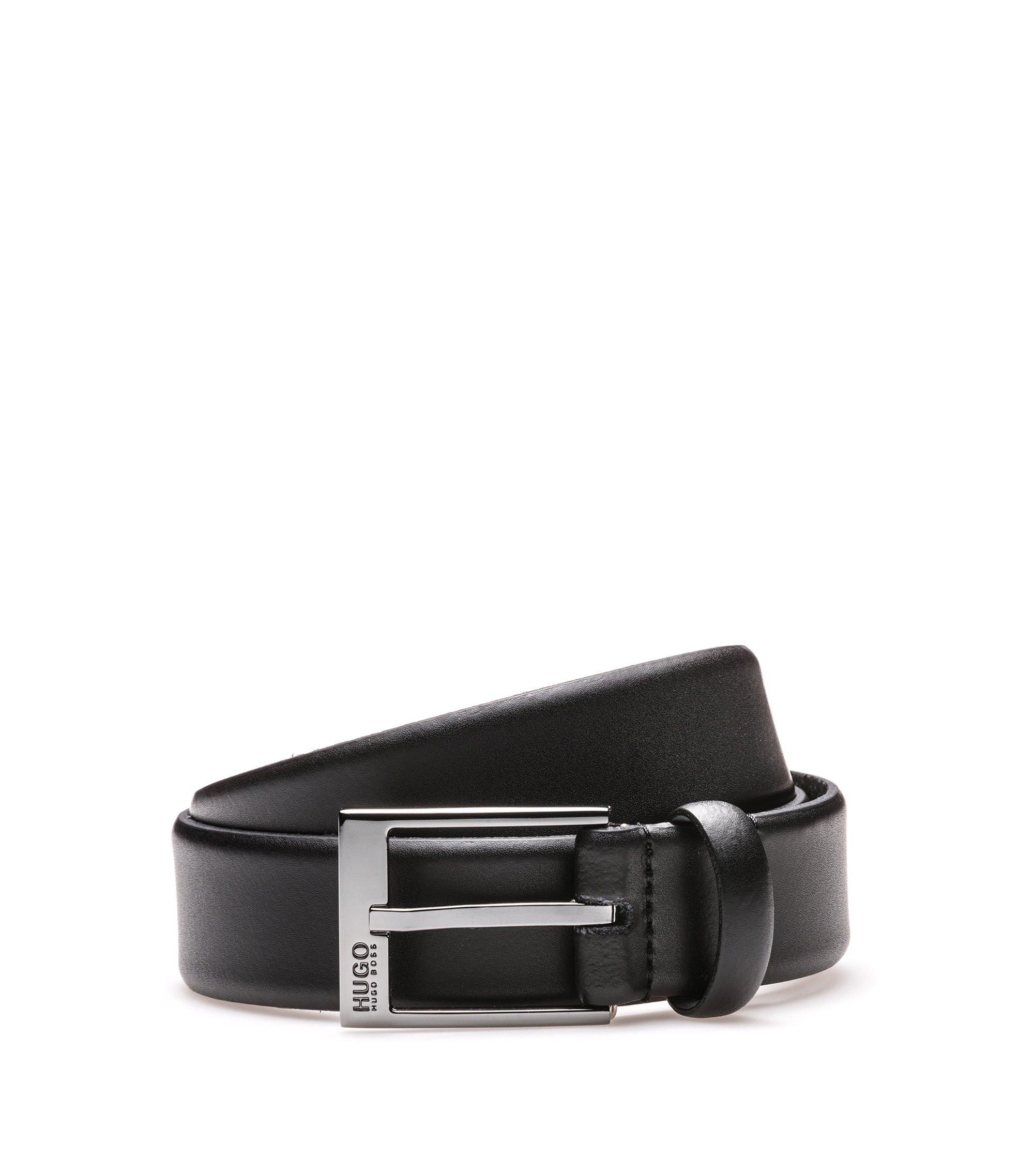 Matt-leather belt with polished gunmetal hardware, Noir
