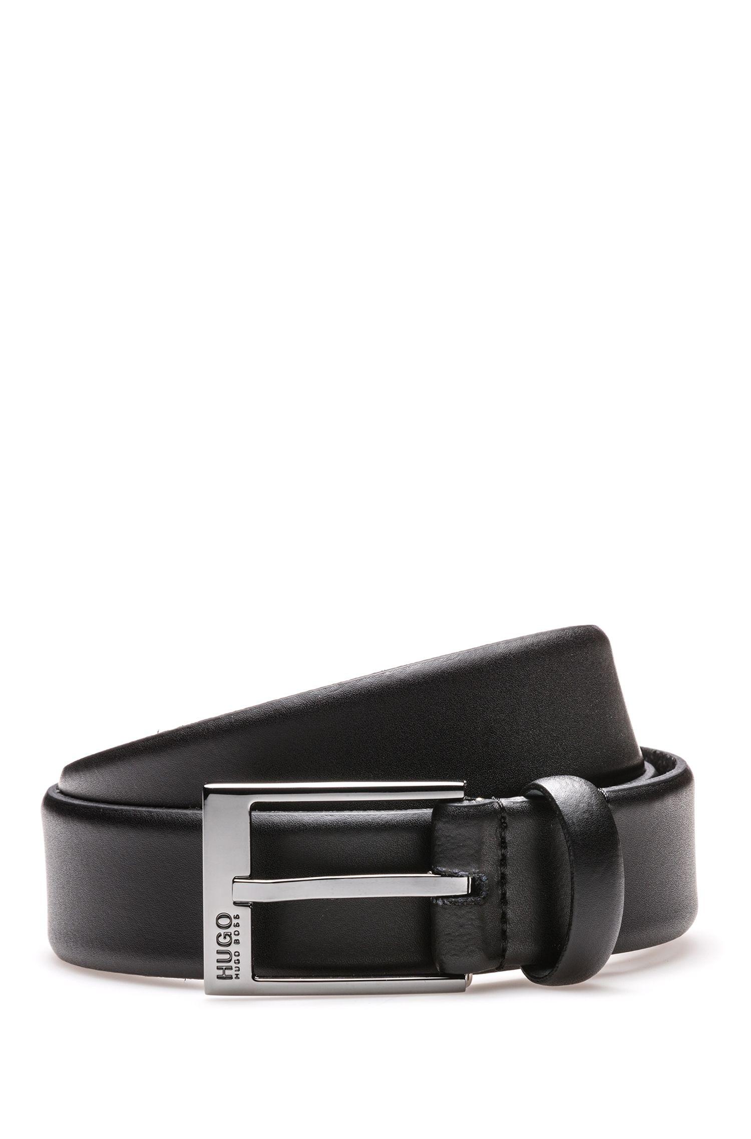 Matt-leather belt with polished gunmetal hardware