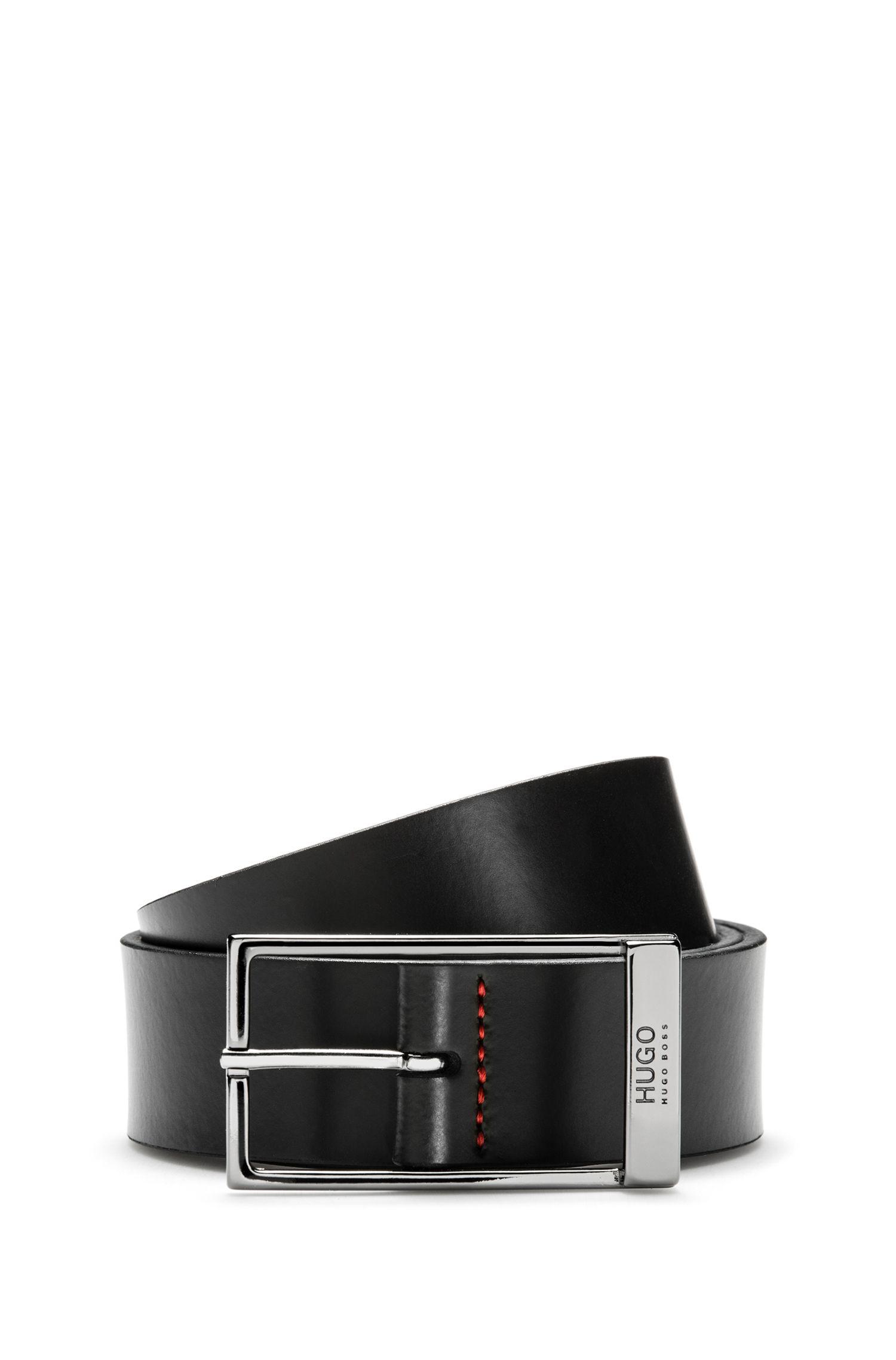 Formal belt in brush-off leather