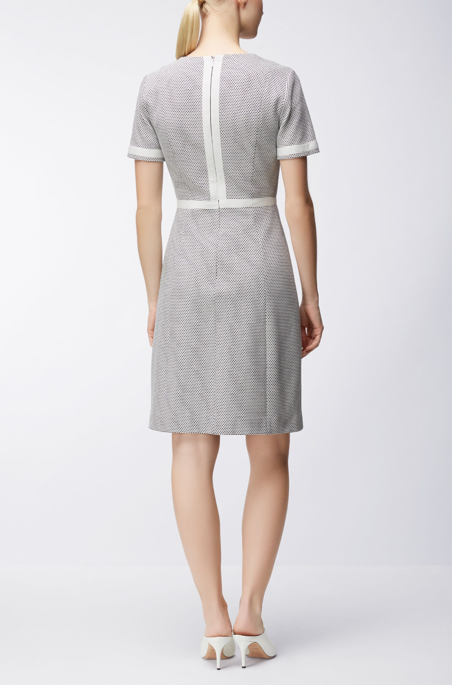 V-neck dress in structured cotton jersey