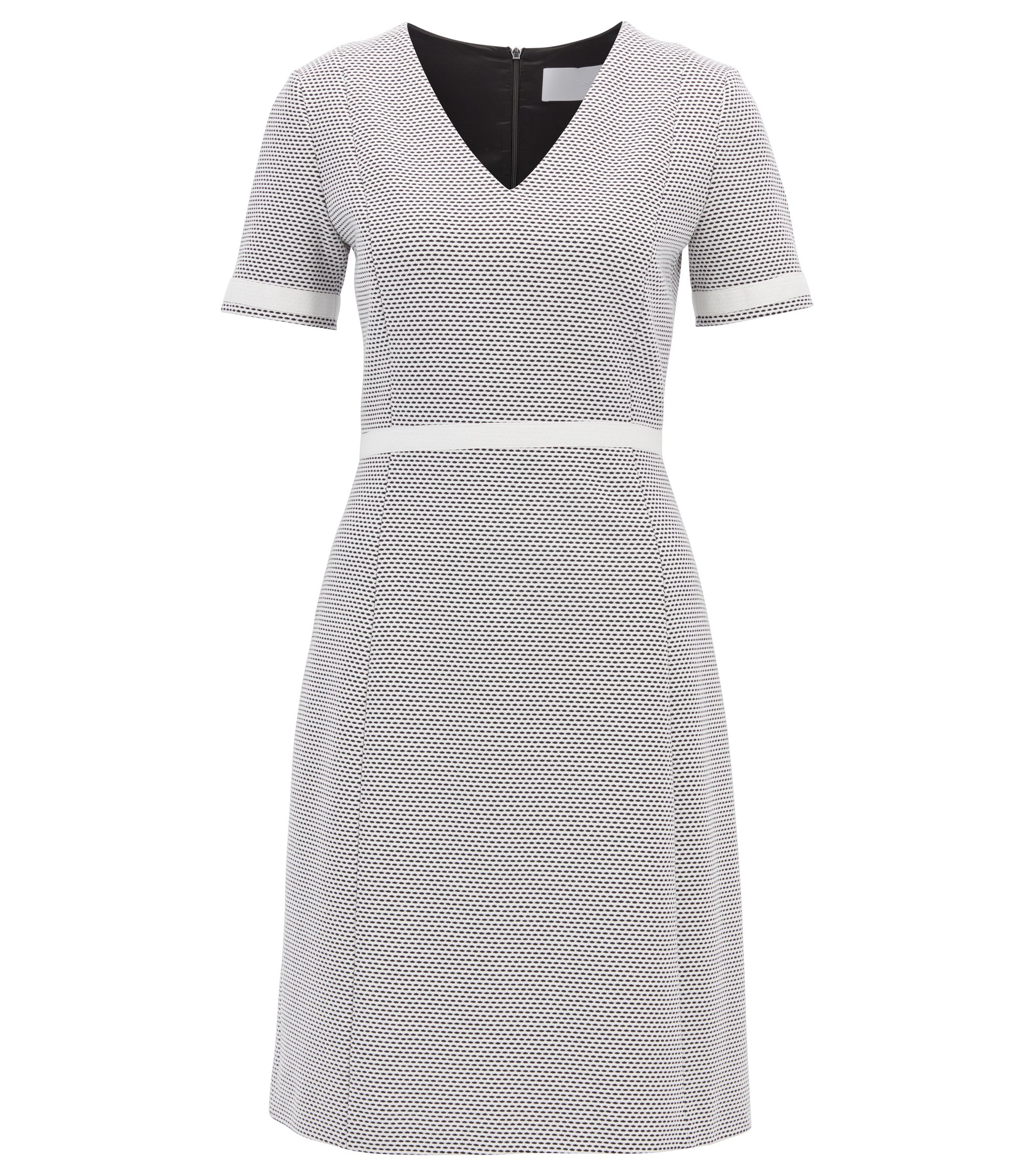 V-neck dress in structured cotton jersey, Patterned