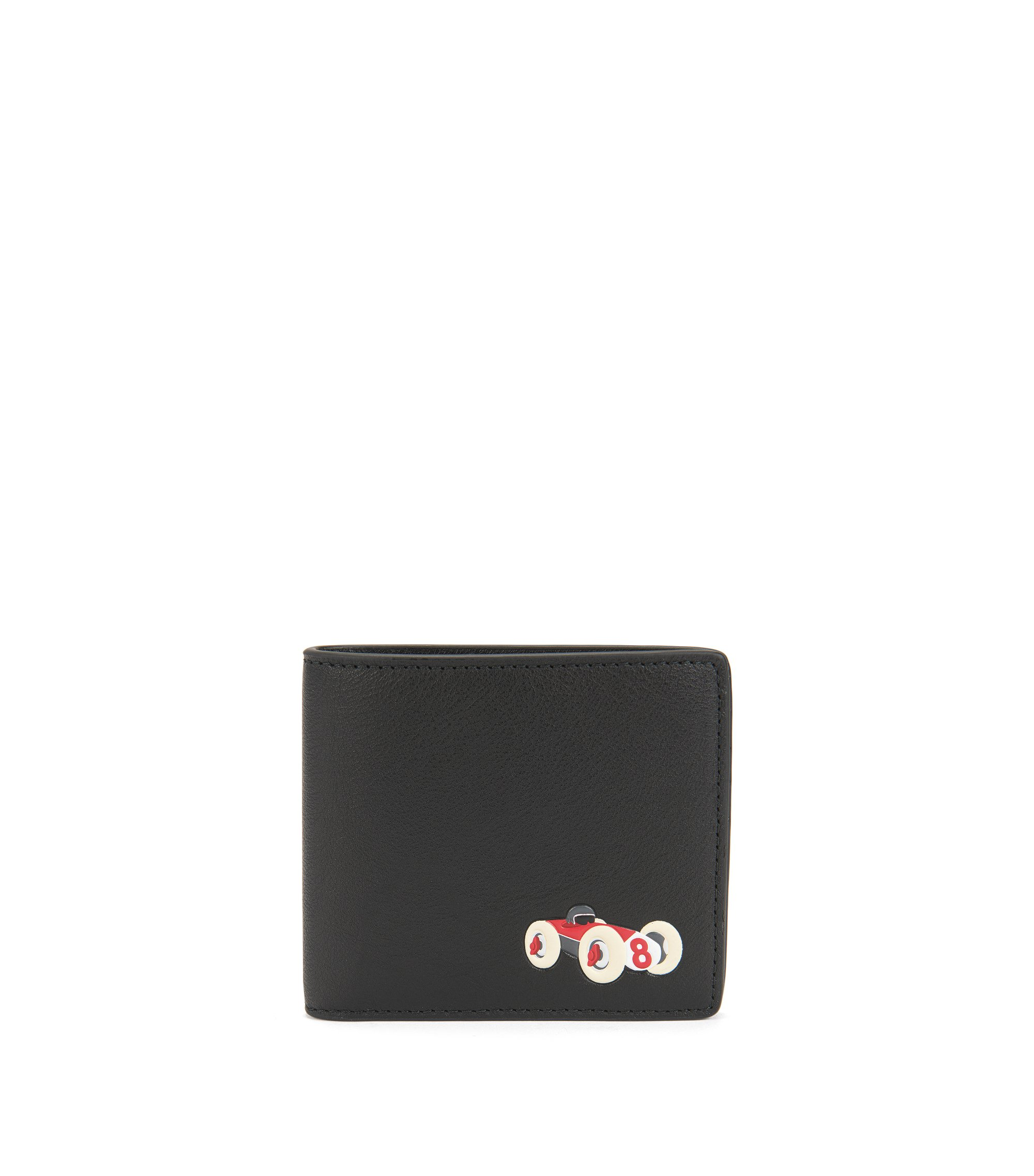Leather bifold wallet with race car motif, Black