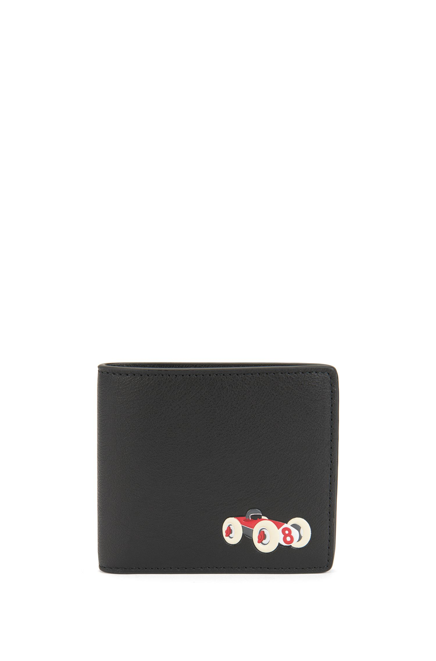 Leather bifold wallet with race car motif