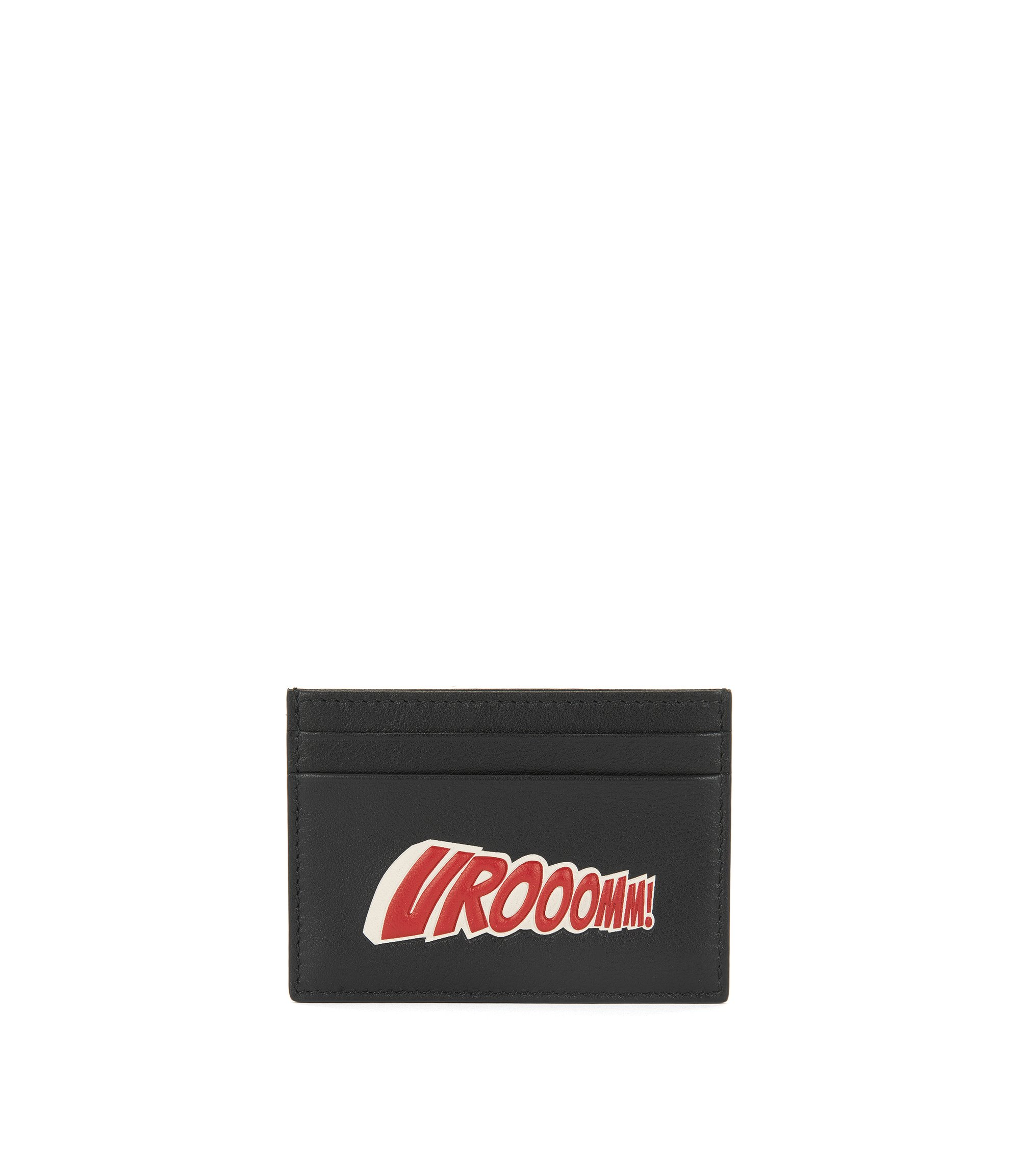 Leather card holder with playful slogan, Black