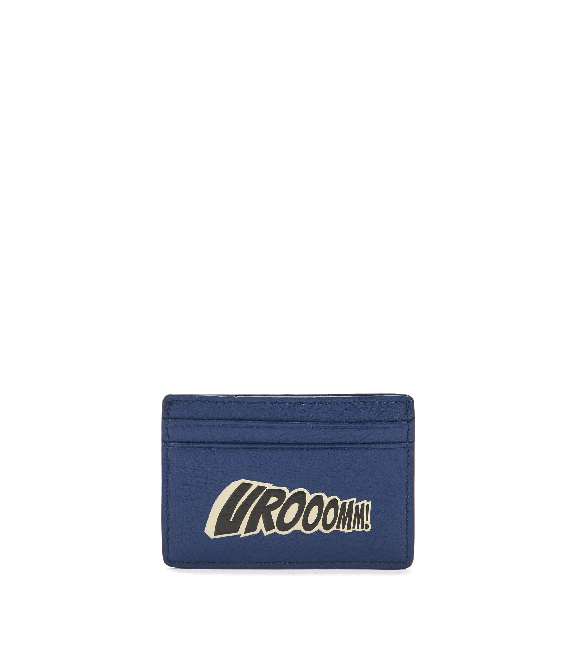 Leather card holder with playful slogan, Dark Blue
