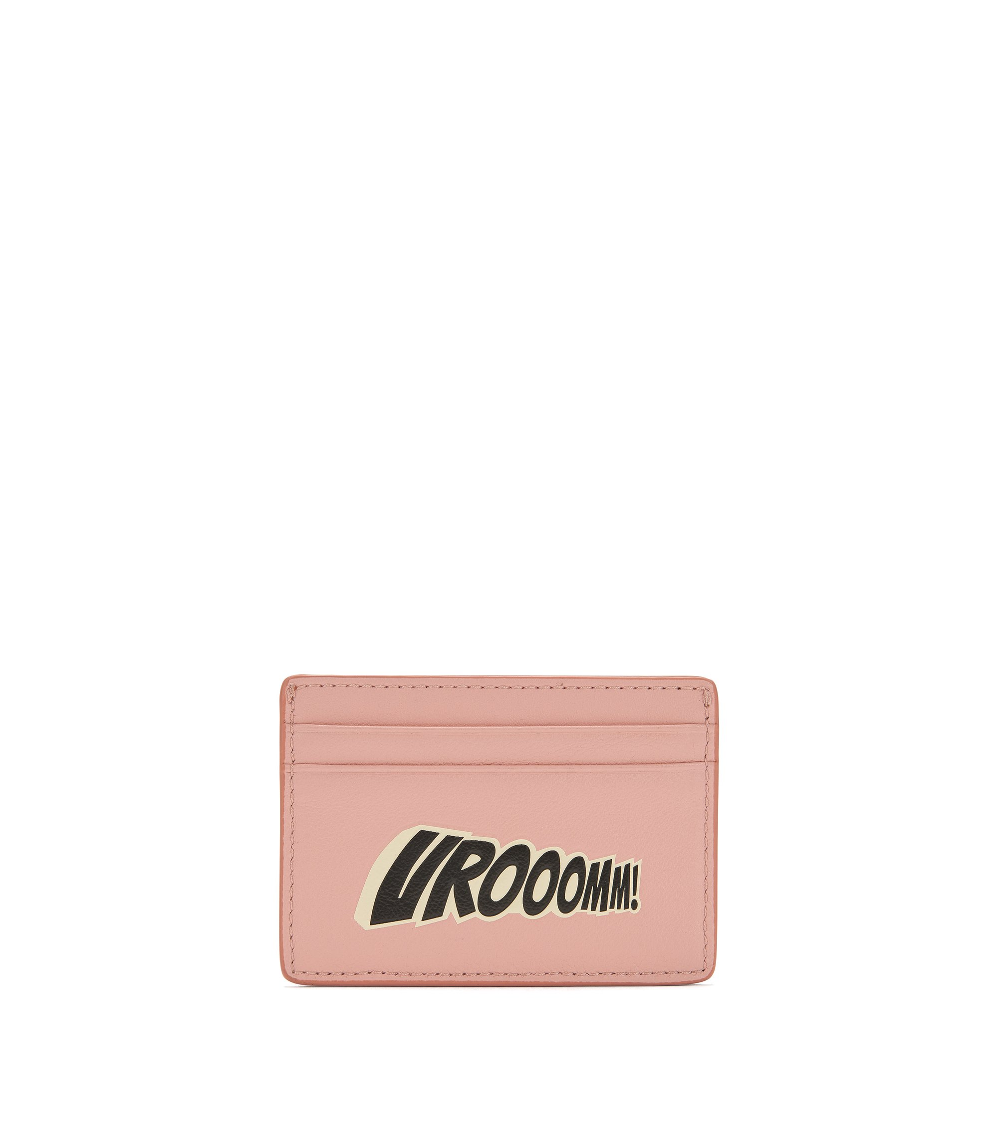 Leather card holder with playful slogan, light pink