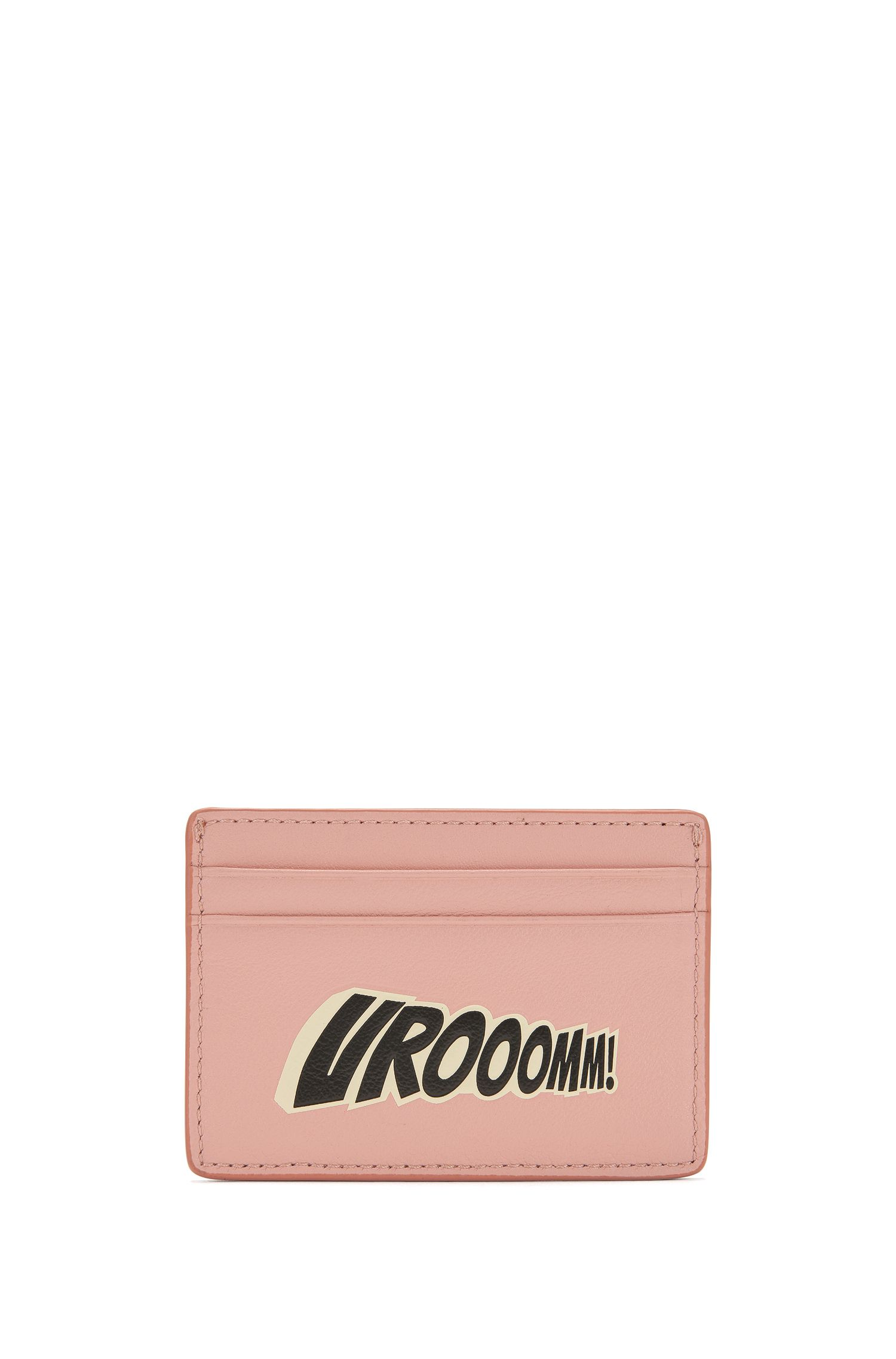 Leather card holder with playful slogan
