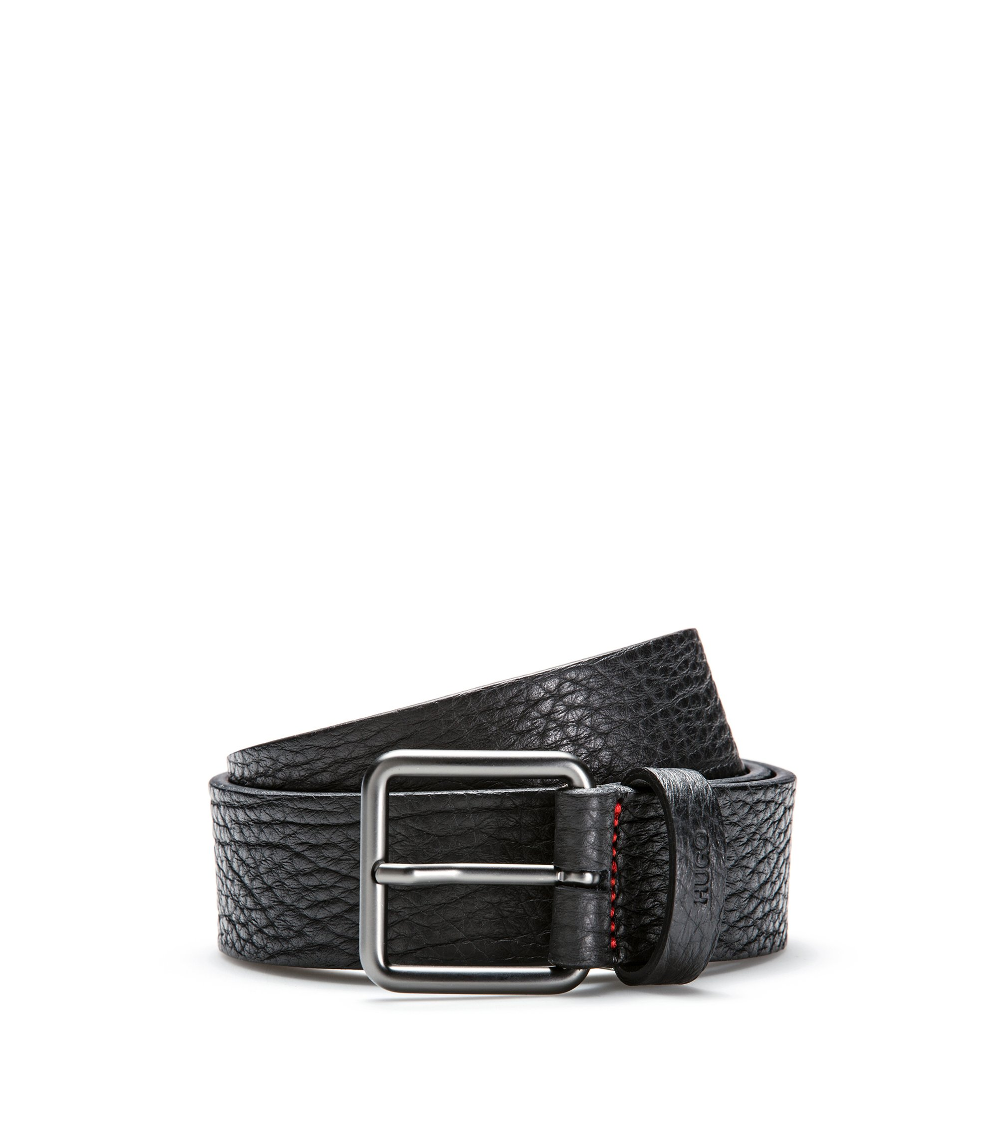 Grainy embossed leather belt with matt gunmetal pin-buckle, Black