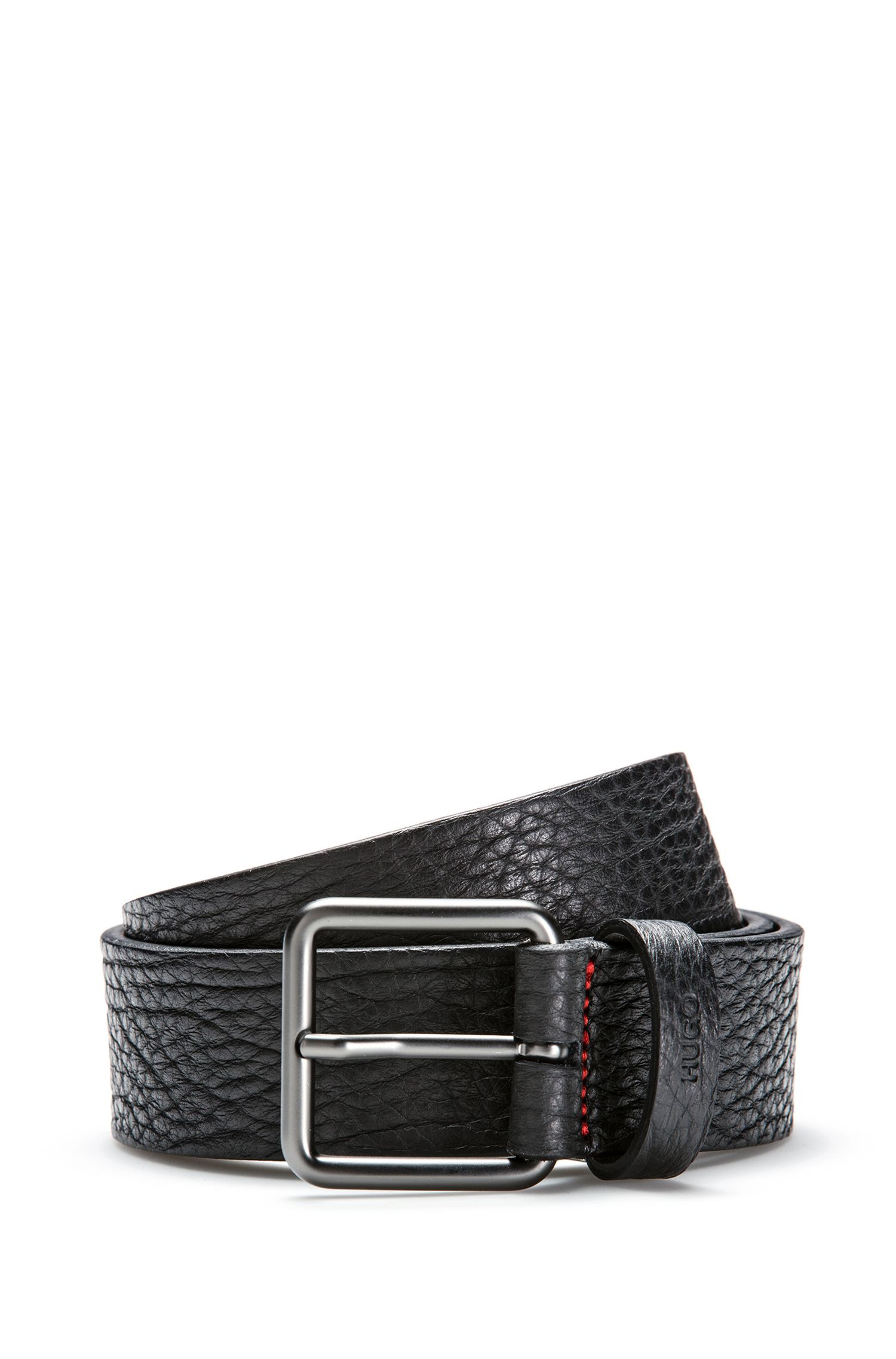 Grainy embossed leather belt with matt gunmetal pin-buckle