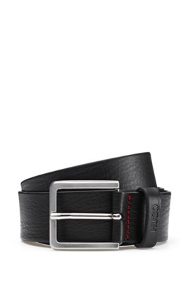 Grainy embossed-leather belt with brushed metal hardware, Black