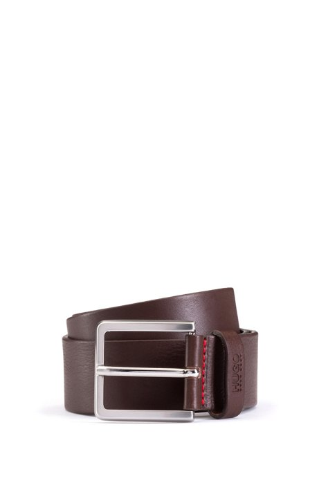 Grainy embossed-leather belt with brushed metal hardware, Dark Brown