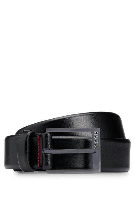 Leather belt with polished gunmetal hardware, Black