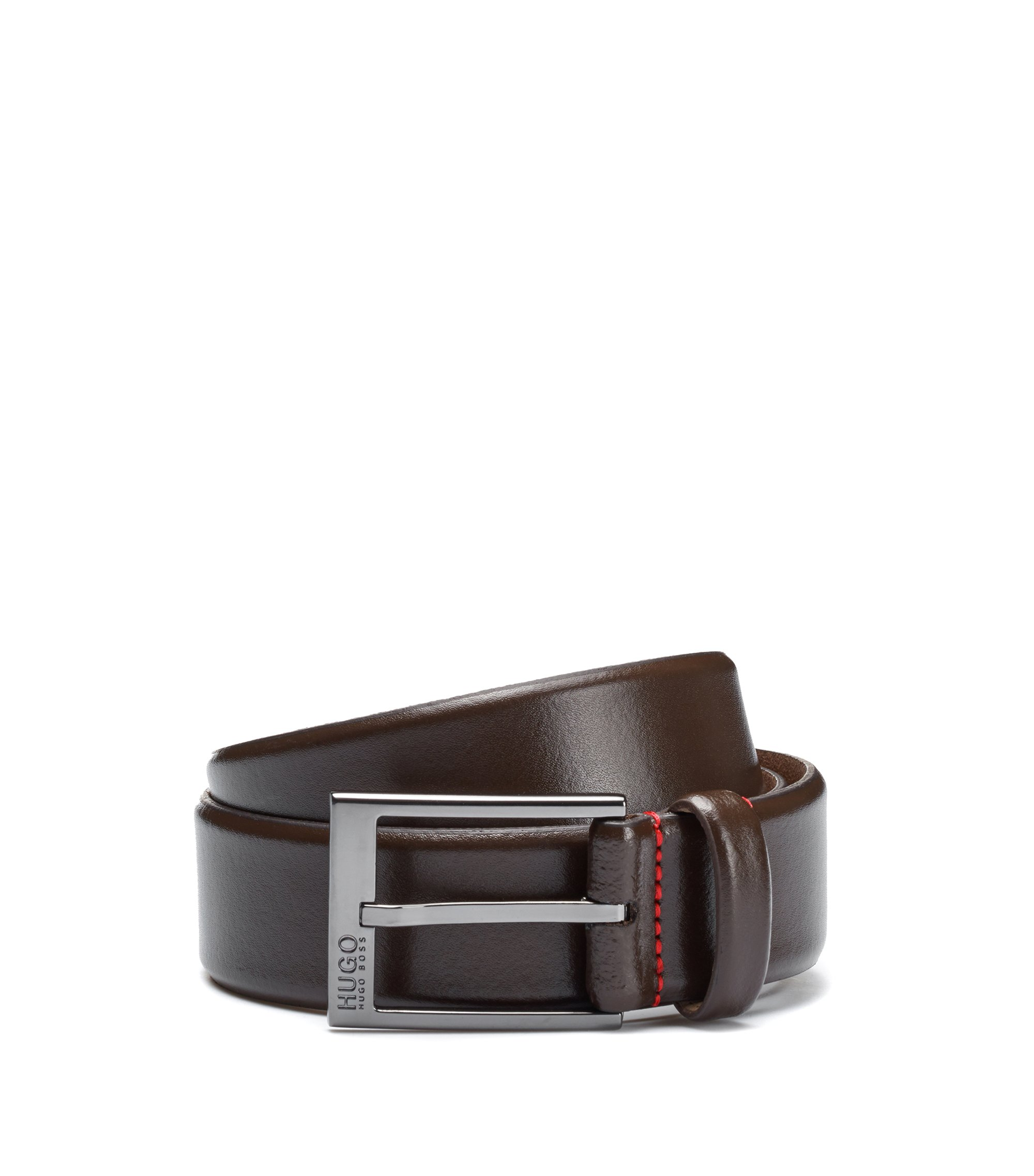 Belt in smooth leather, Dark Brown