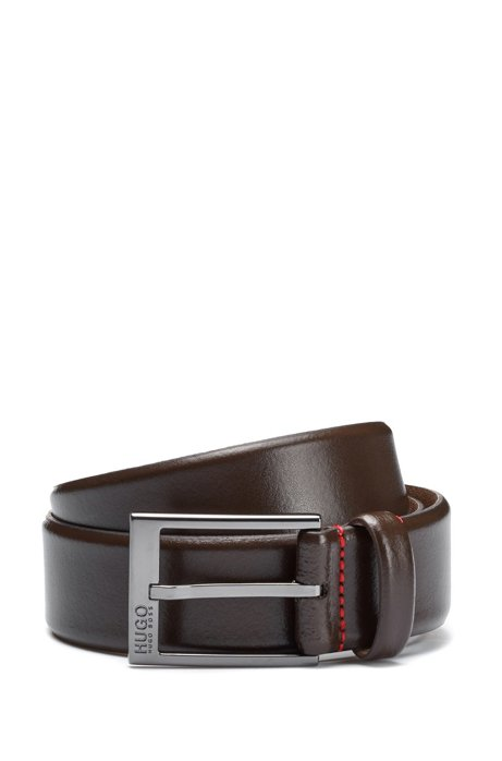 Leather belt with polished gunmetal hardware, Dark Brown