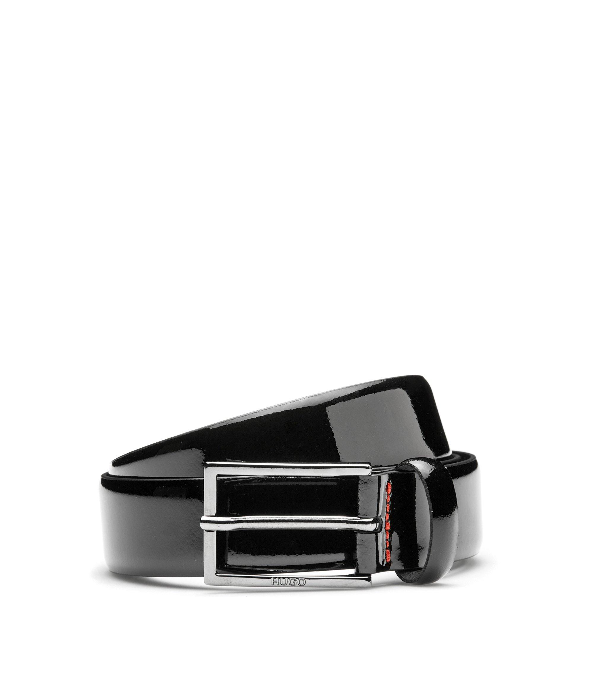 Cintura in pelle verniciata con effetto bicolore, Nero