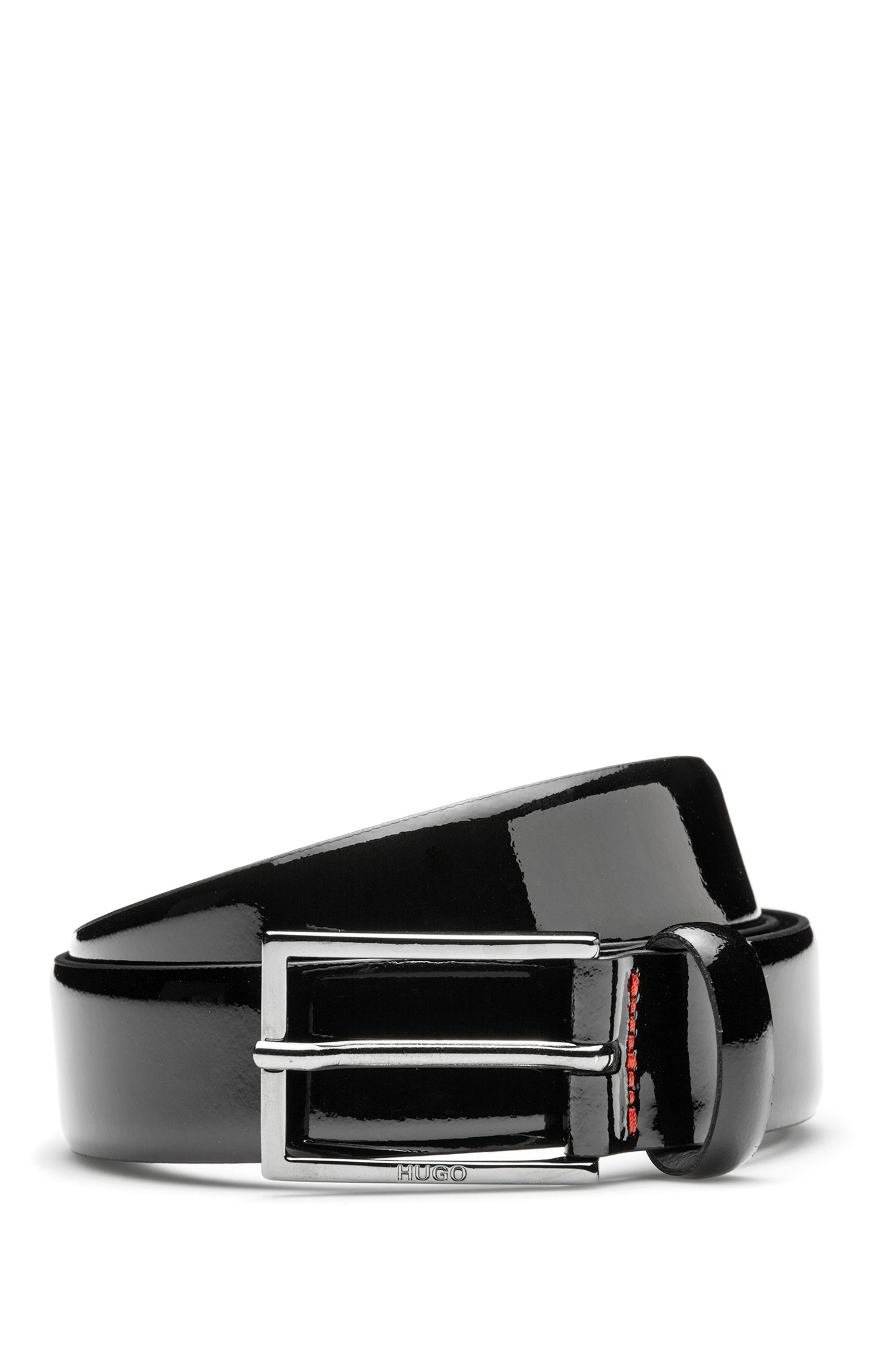 Patent-leather belt with two-tone effect