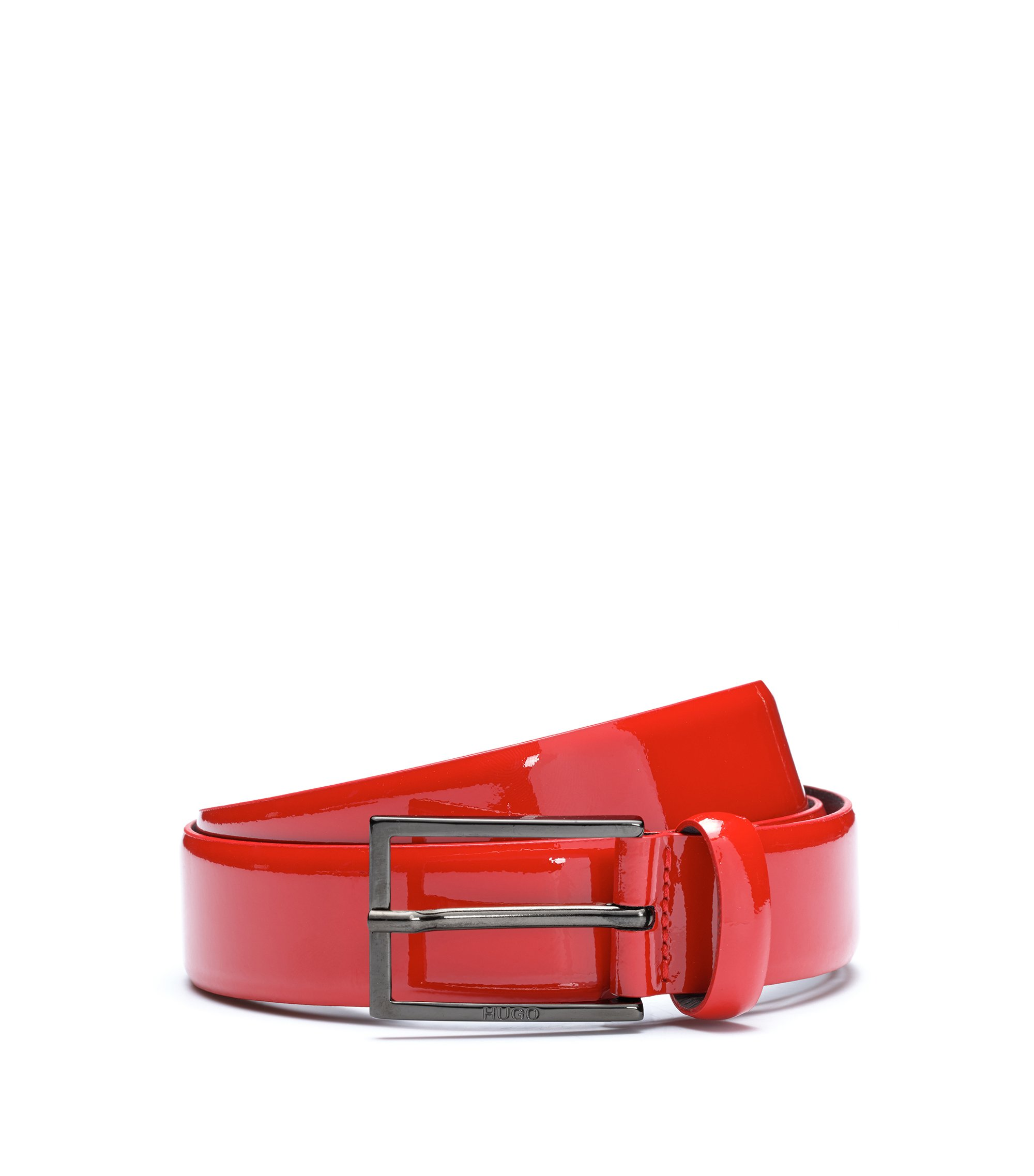 Patent-leather belt with two-tone effect, Dark Red