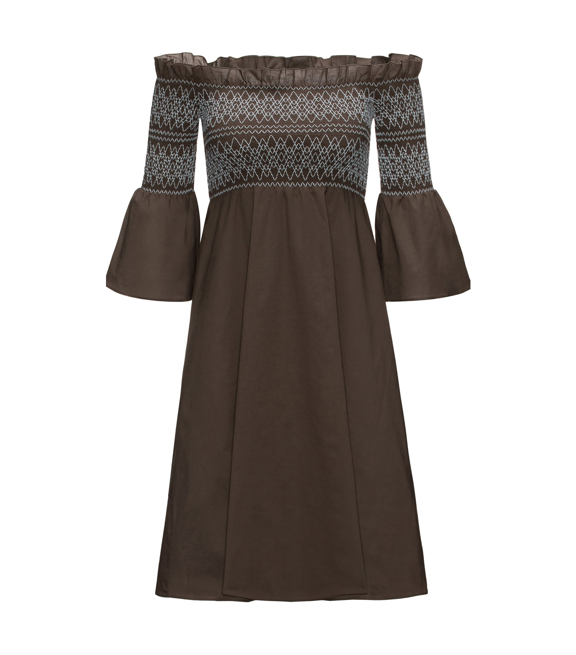 Off-the-shoulder cotton dress with smocking, Vert sombre