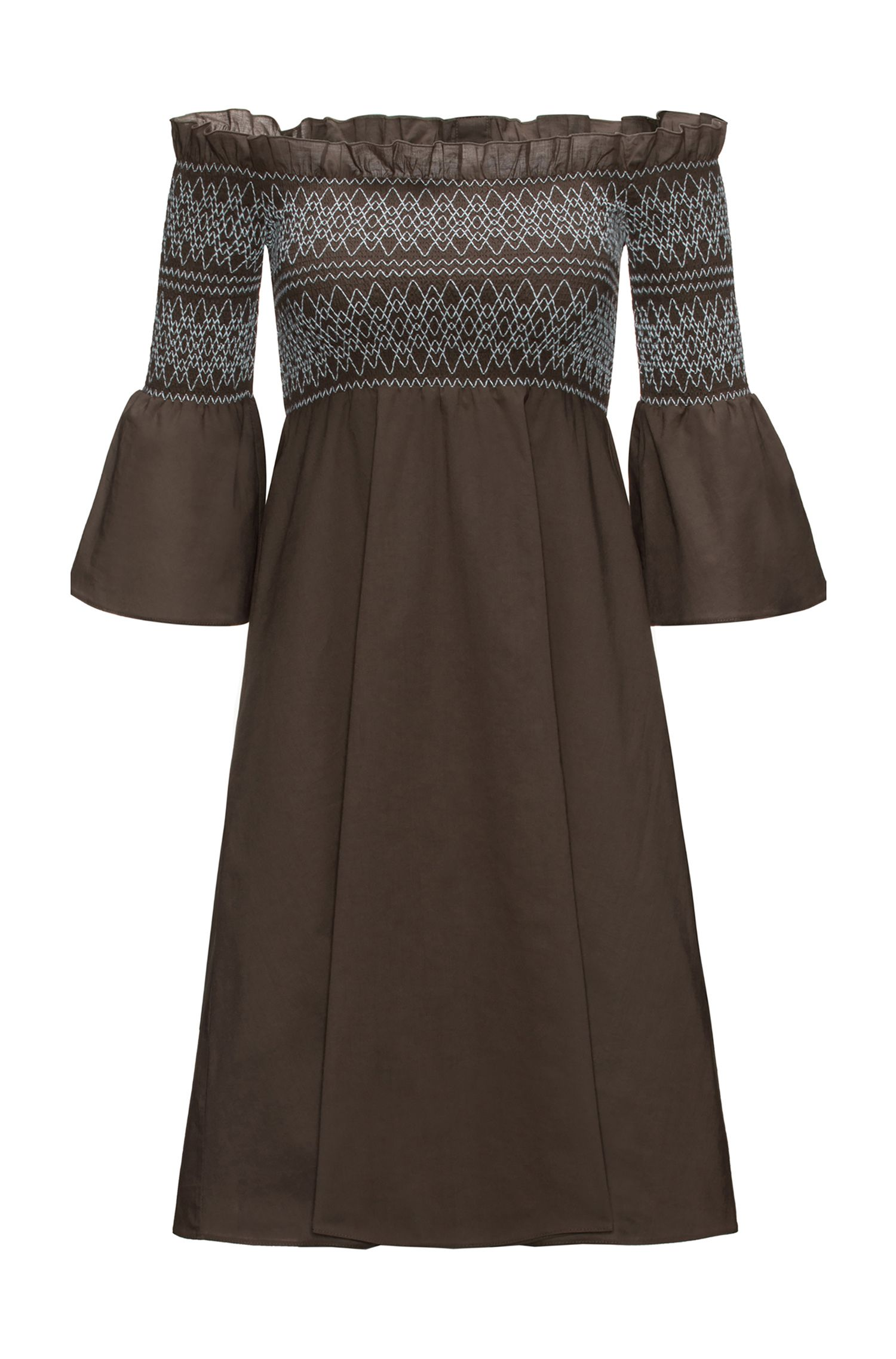 Off-the-shoulder cotton dress with smocking
