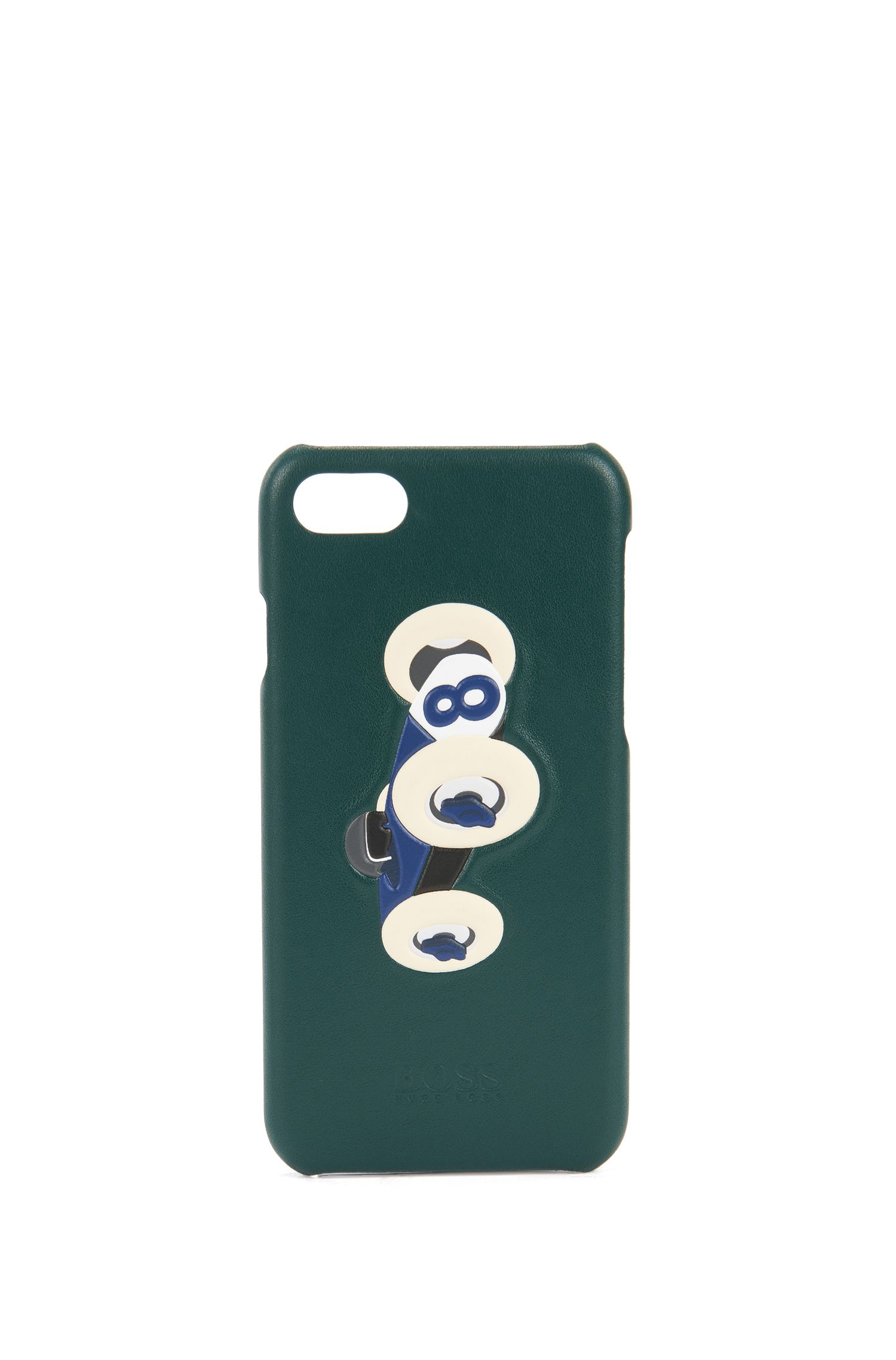 Leather iPhone 7 holder with race car motif