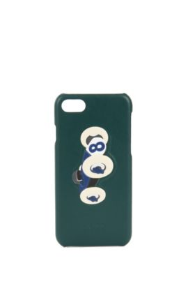 Leather iPhone 7 holder with race car motif, Green