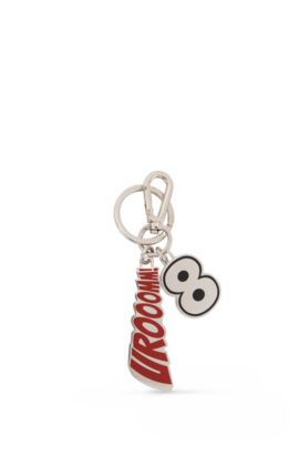 Stainless-steel keyring with enamel slogan, Red