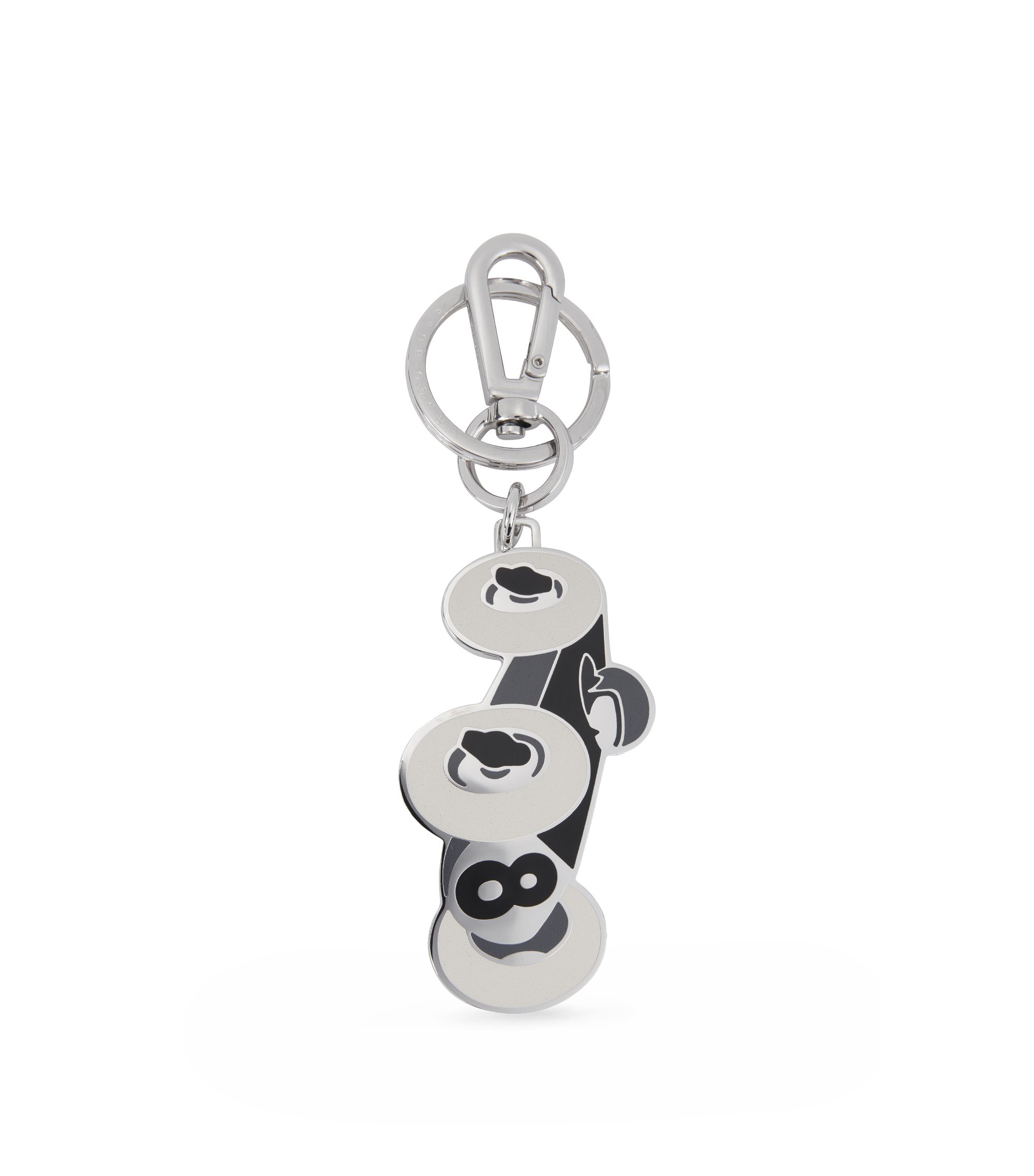 Stainless-steel key holder with coloured enamel, Black