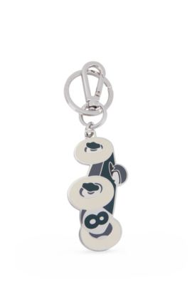 Stainless-steel key holder with coloured enamel, Green