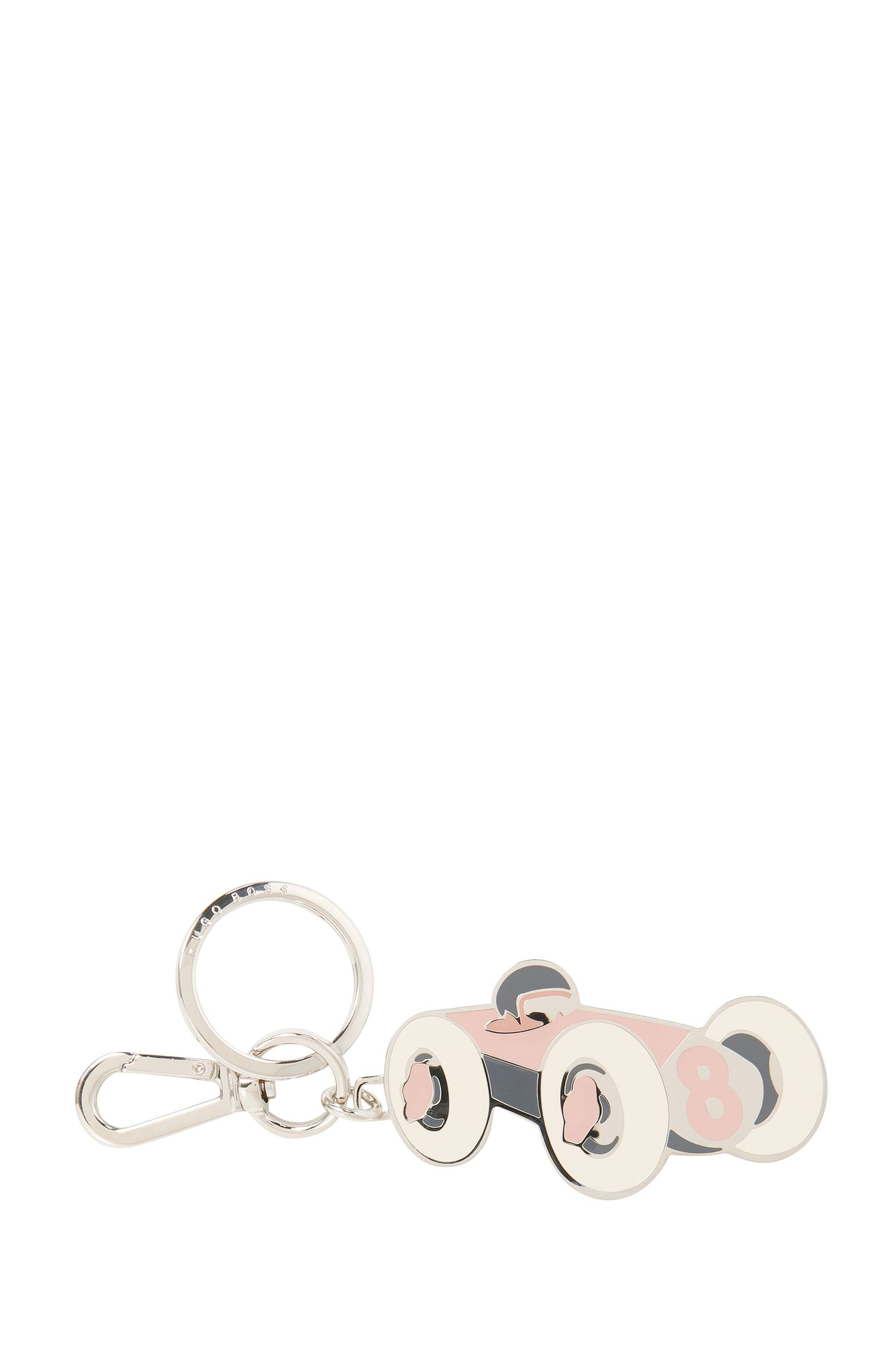 Porte-clés en acier inoxydable et émail coloré