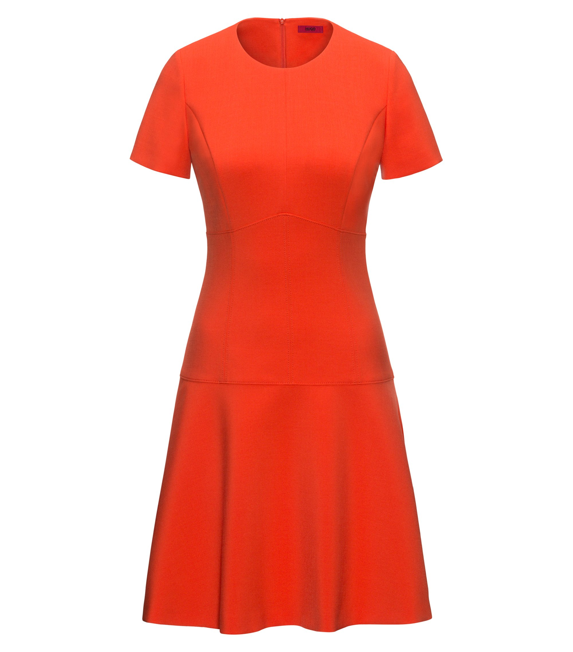 Short-sleeved dress in stretch fabric, Orange