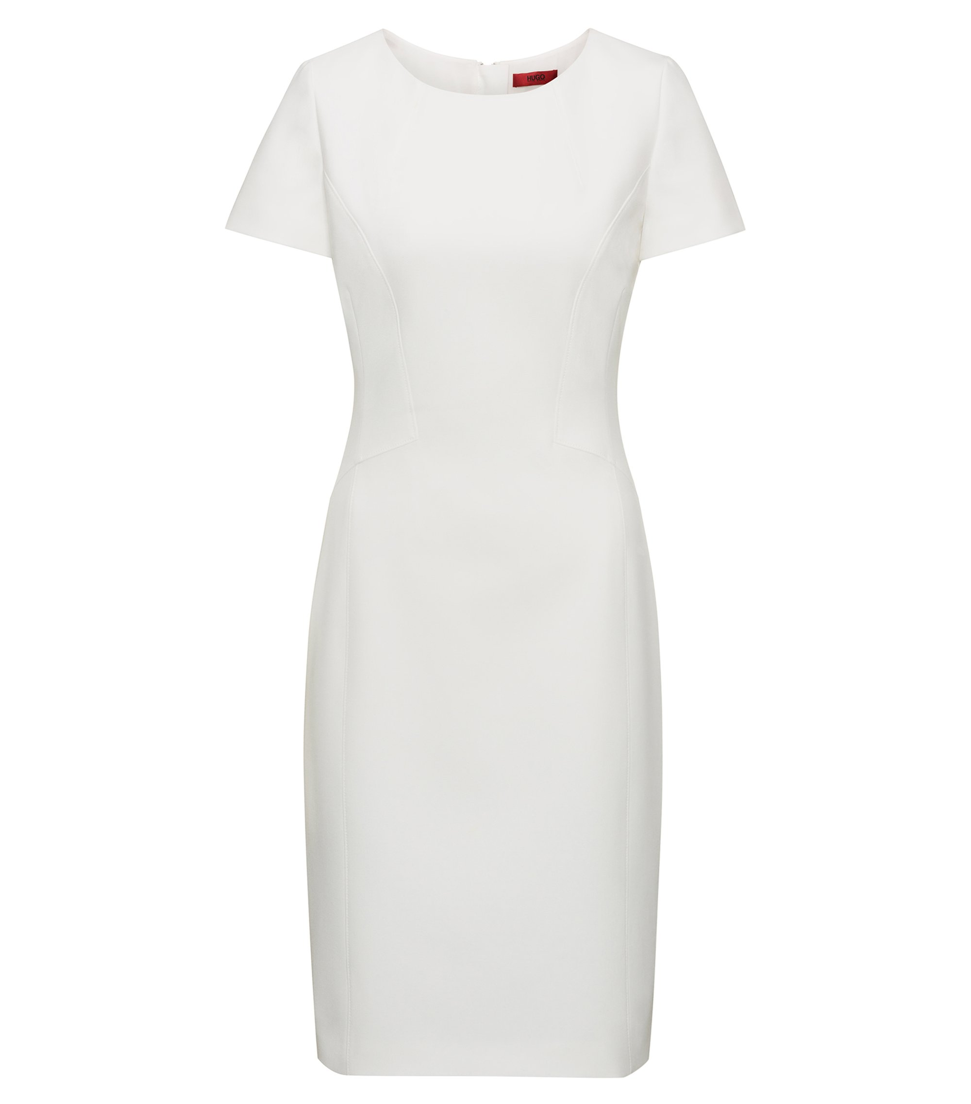 Fitted dress with feminine seaming, White