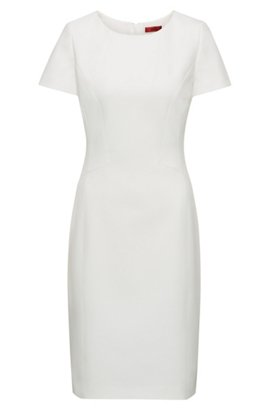 Tailored shift dress with notch neckline BOSS Outlet Choice 0RpeSvT
