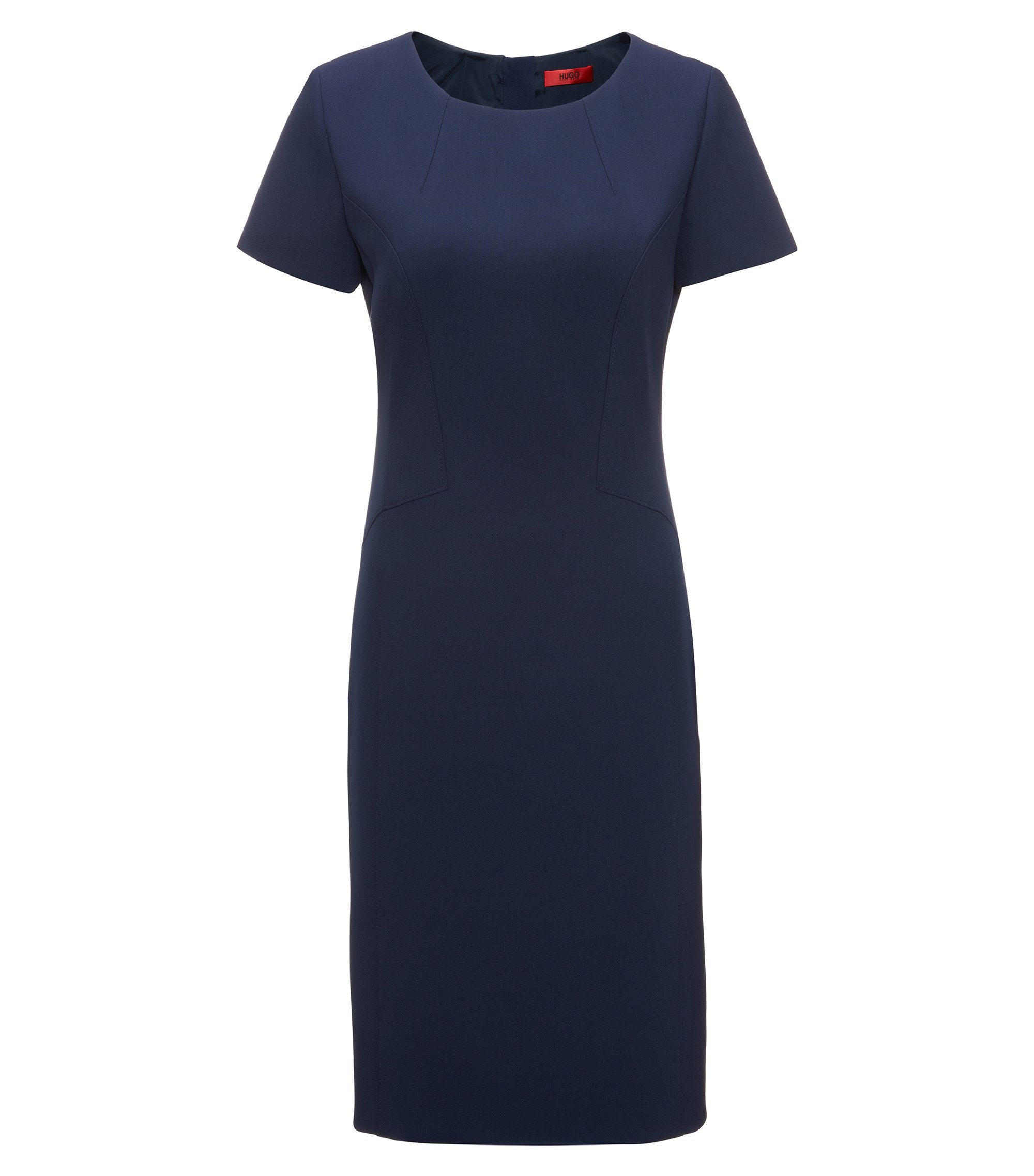 Fitted dress with feminine seaming, Dark Blue