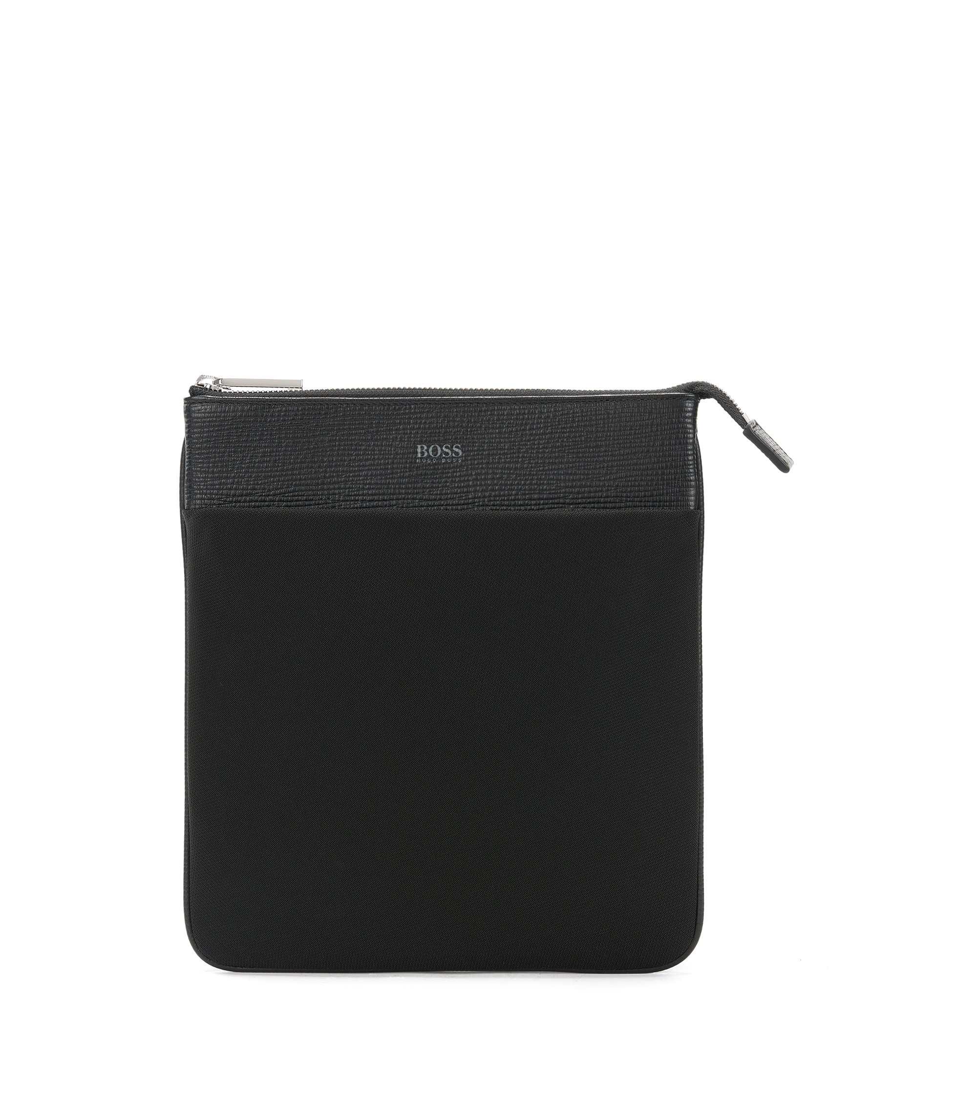 Envelope bag in nylon and leather, Black