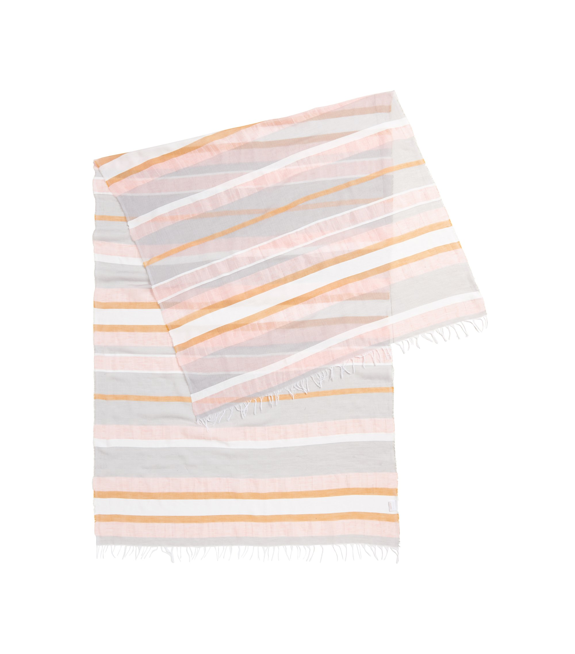 Striped scarf in a lightweight cotton blend, Silver