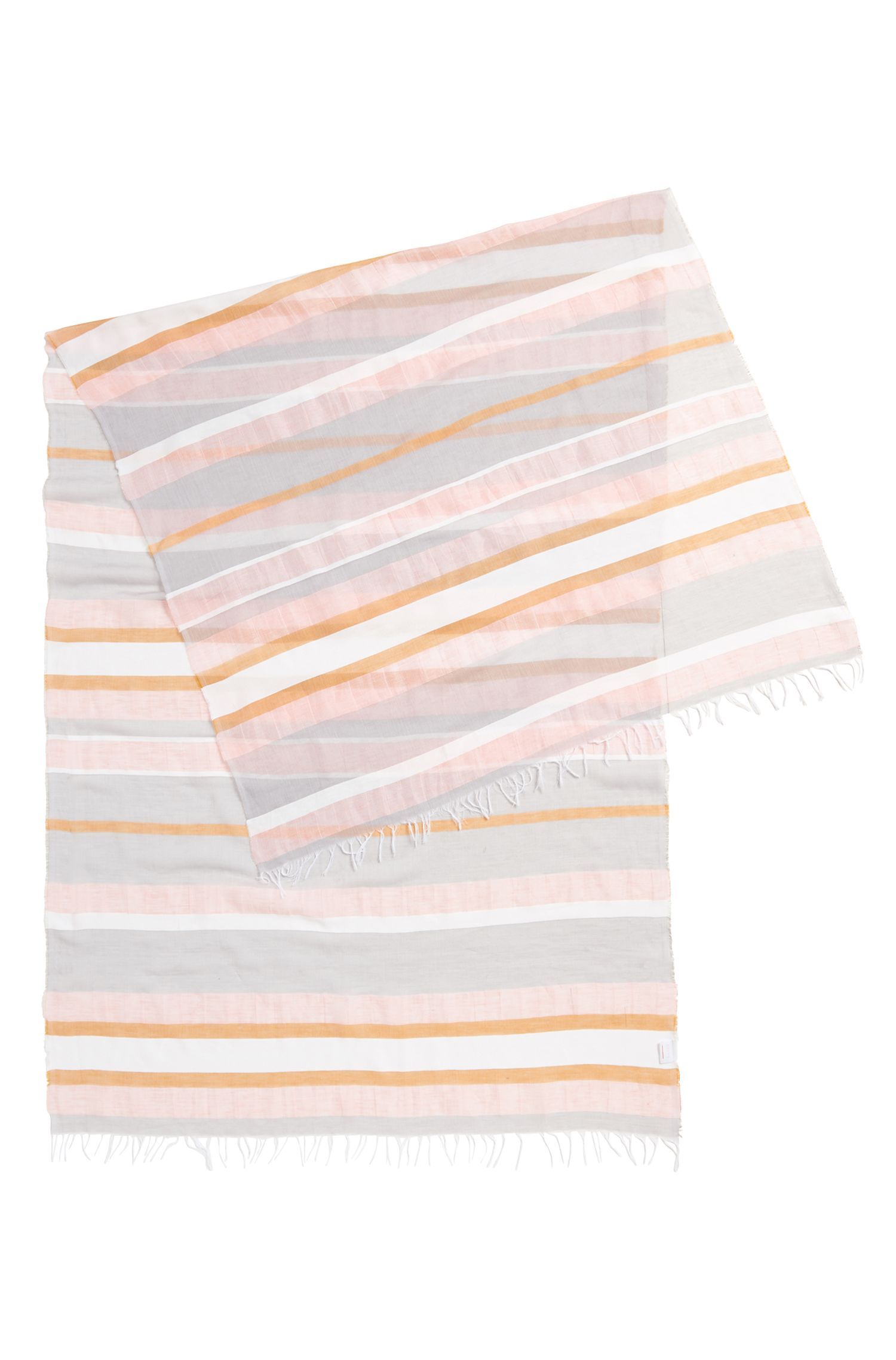Striped scarf in a lightweight cotton blend