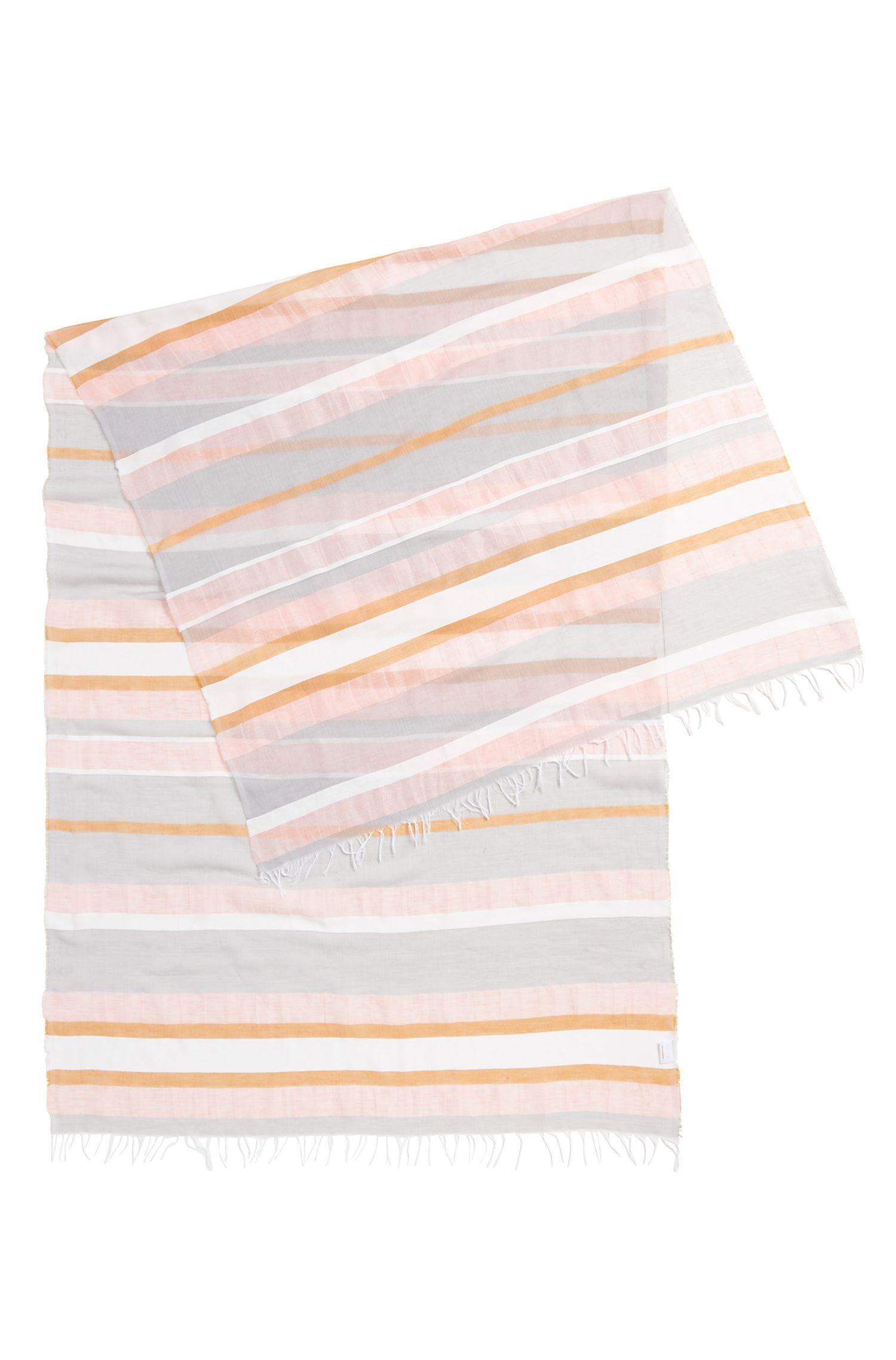 Écharpe à rayures en coton mélangé léger