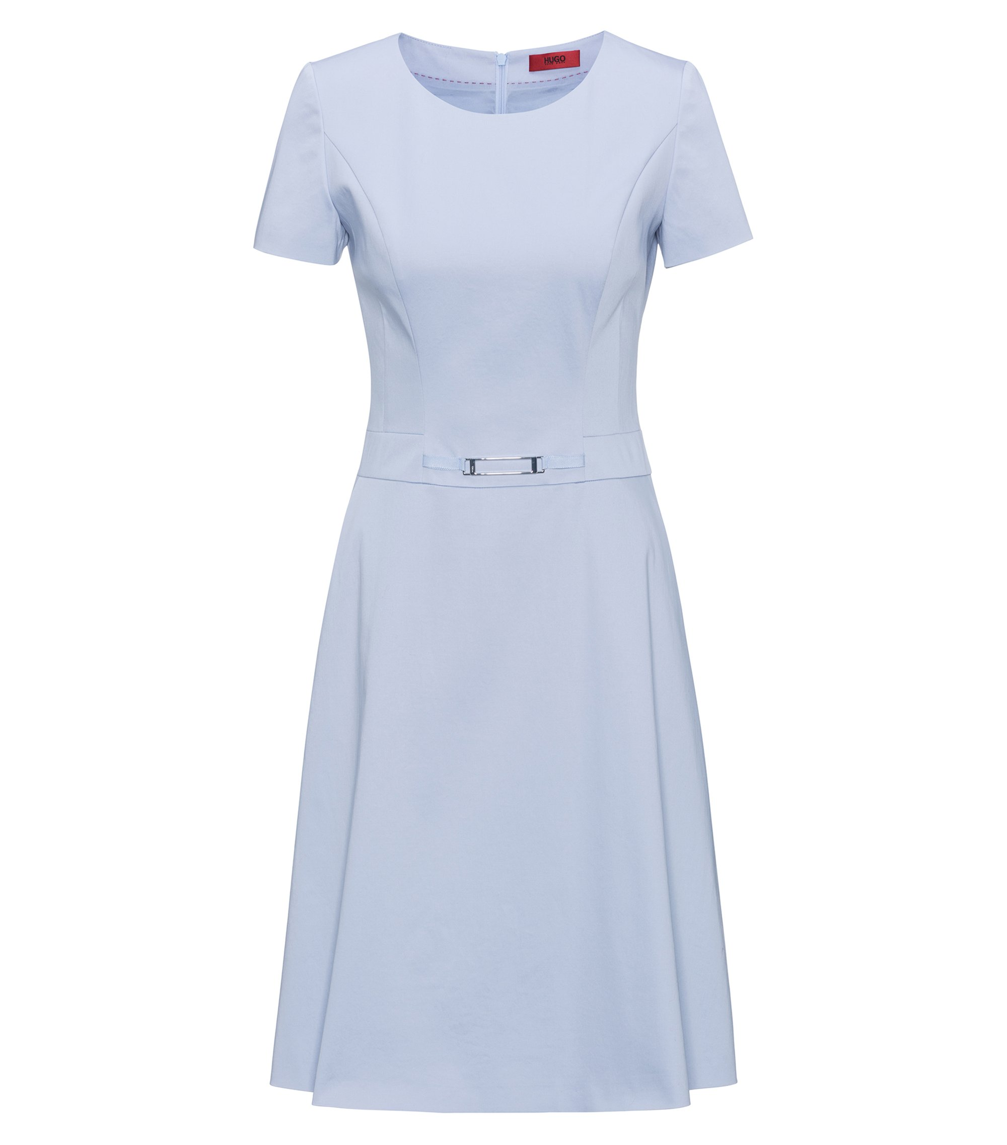A-line stretch-cotton dress with waist detail, Blue