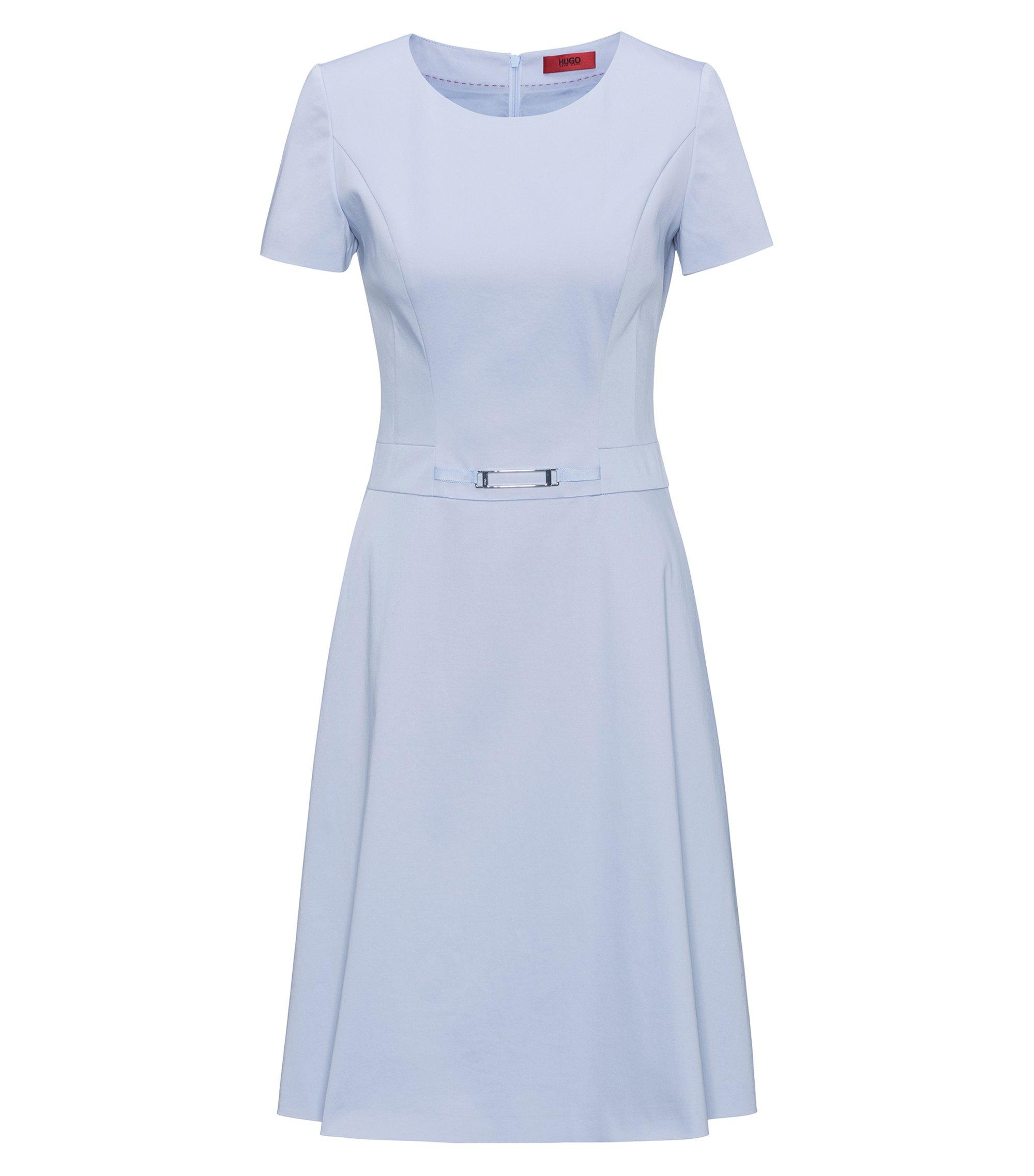 A-Linien-Kleid aus Stretch-Baumwolle mit verzierter Taille, Blau